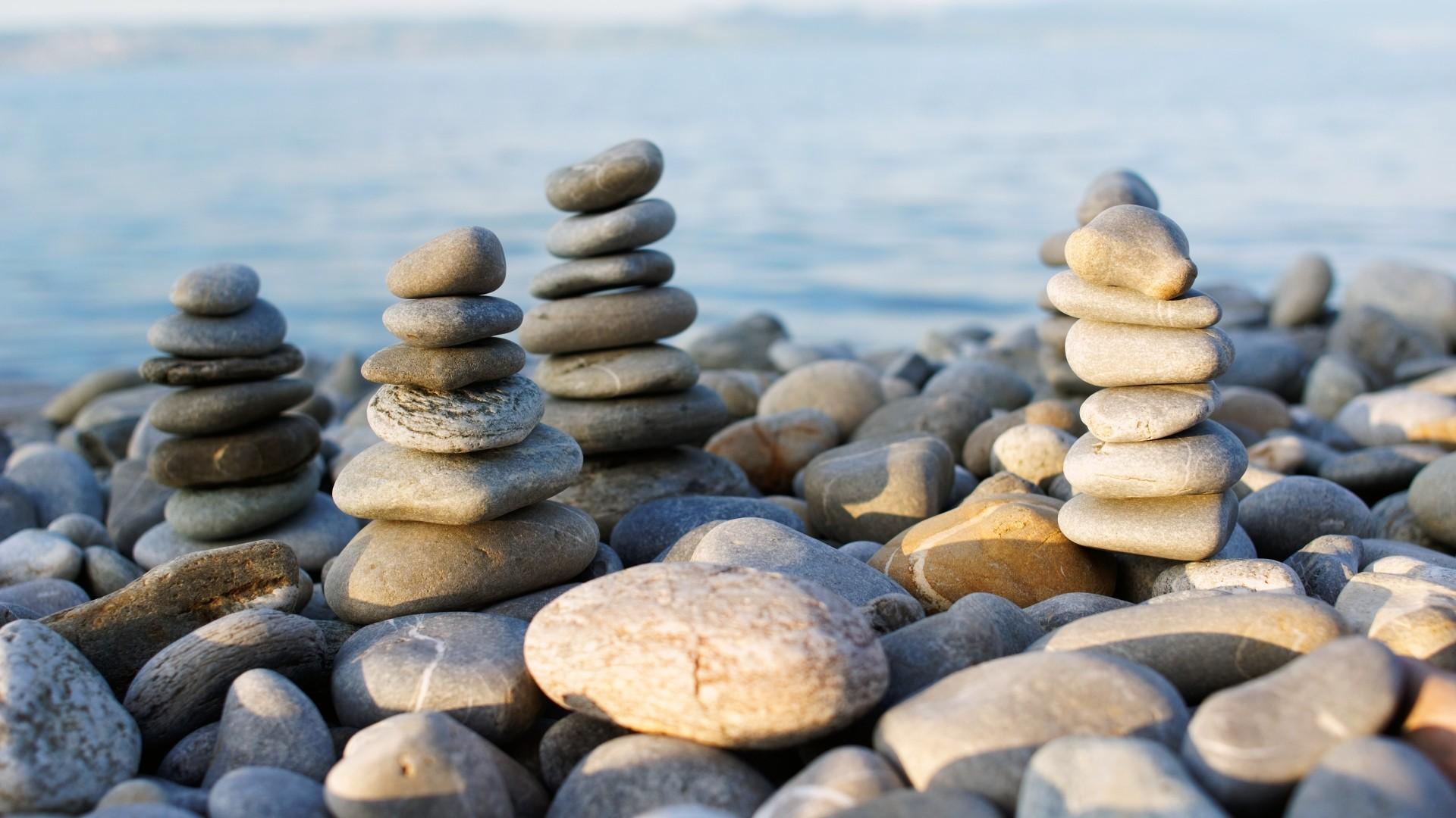 Zen Stone Pyramid Wallpaper theme
