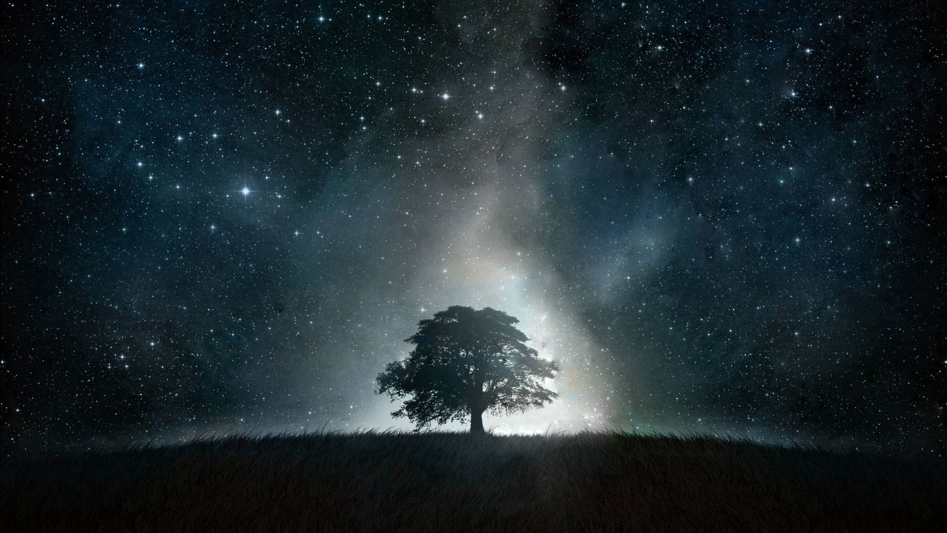 Tree And Space Desktop Wallpaper