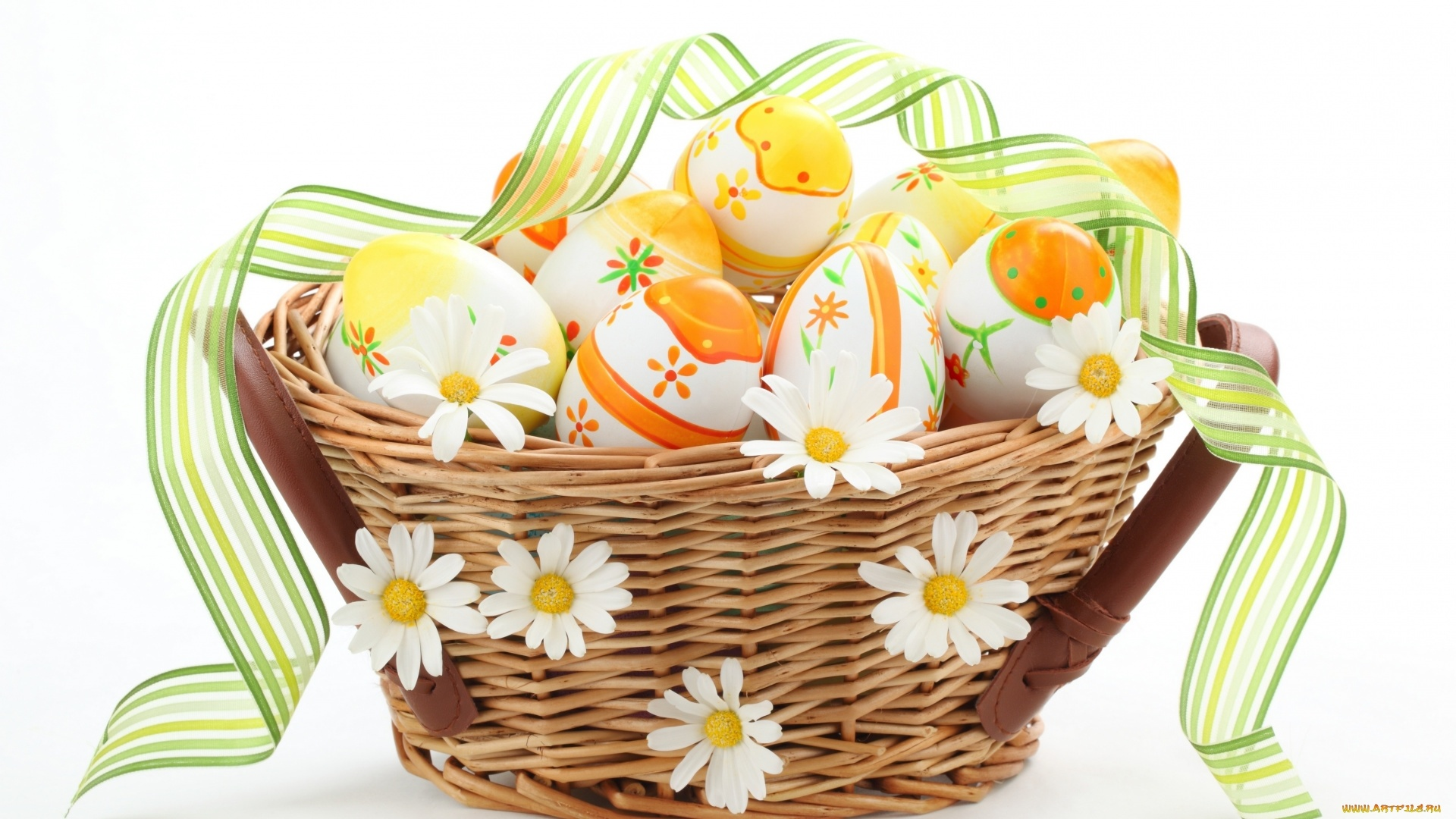Easter Eggs In A Basket computer wallpaper