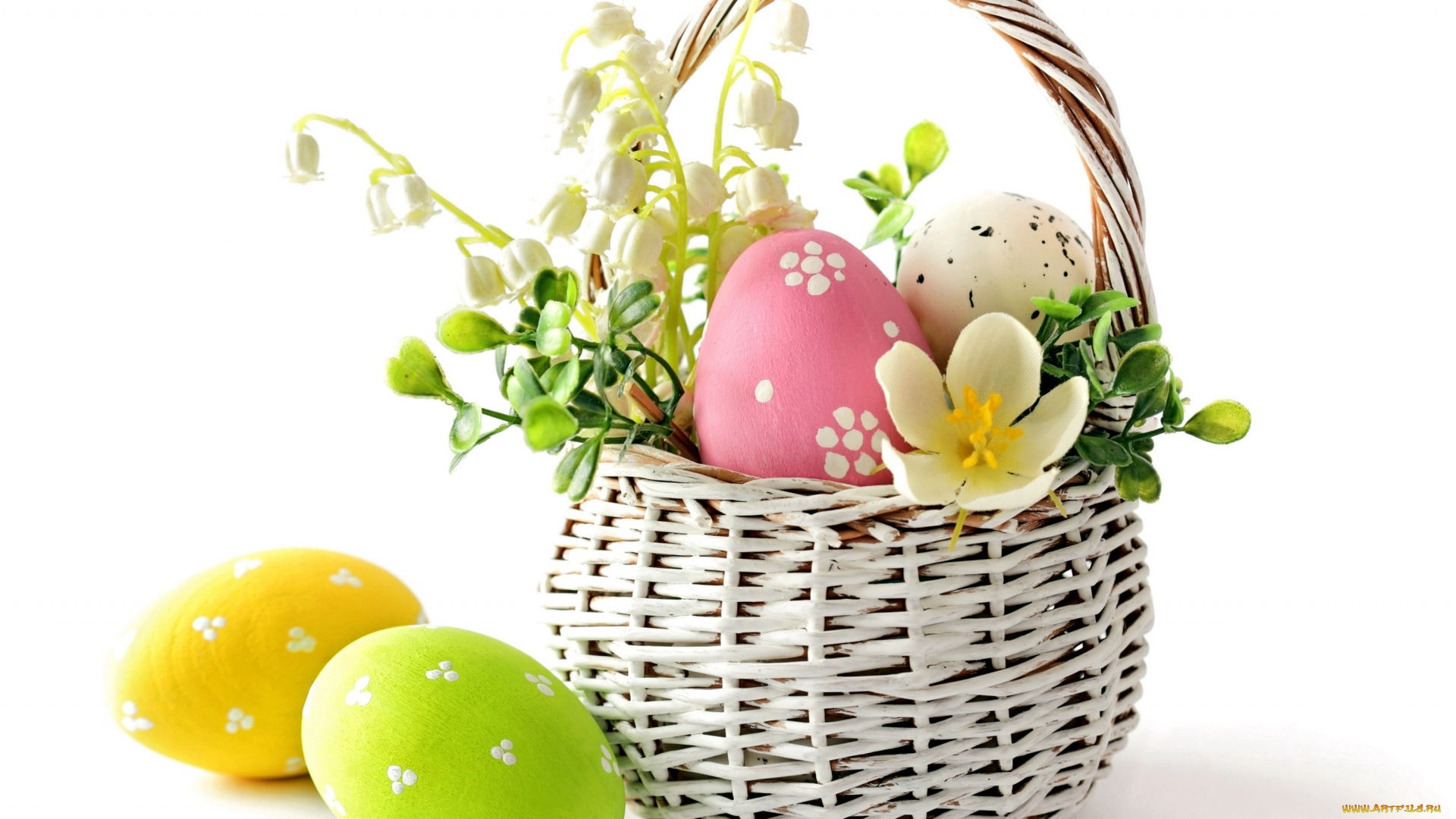 Easter Eggs In A Basket Image