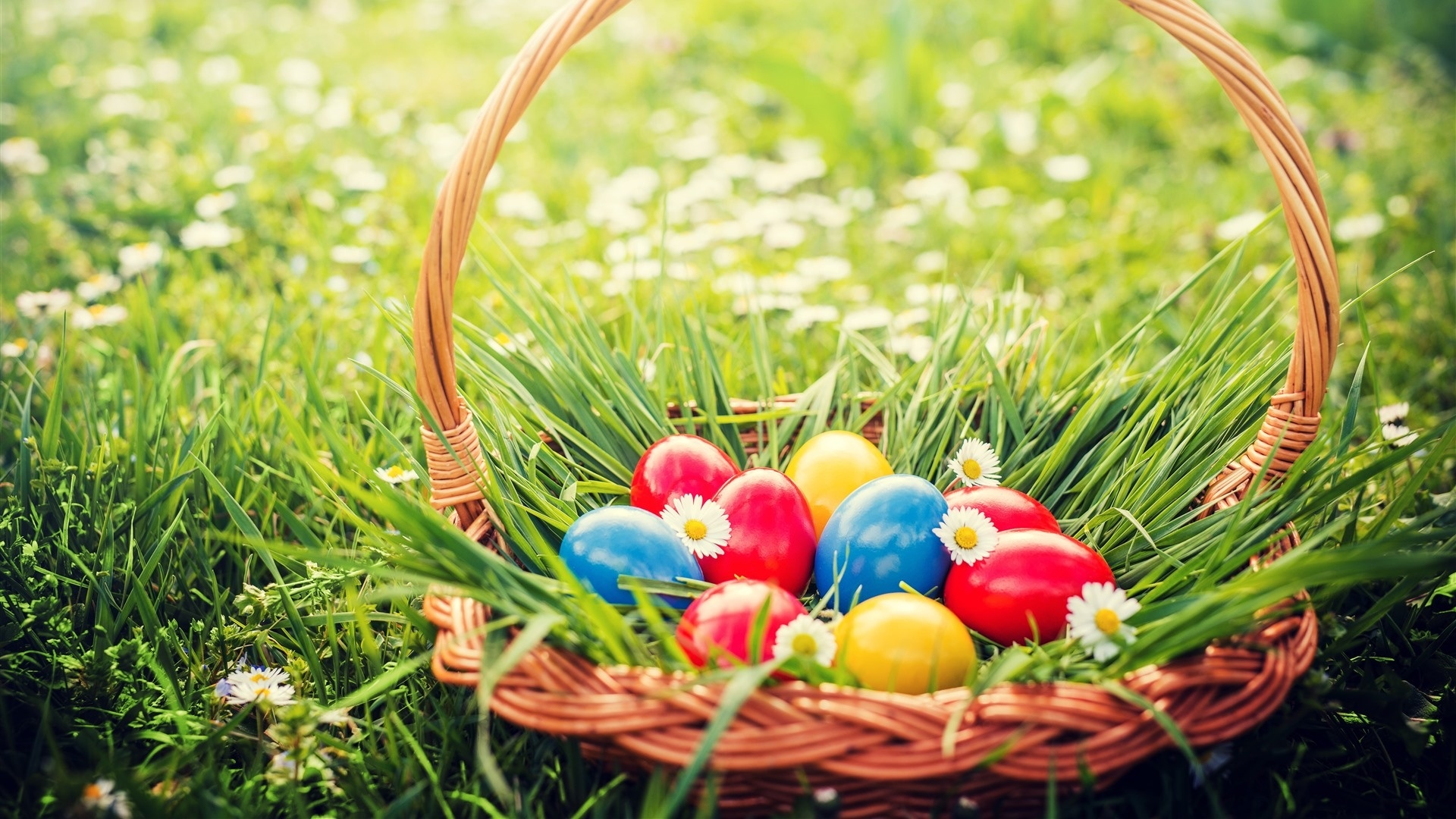 Easter Eggs In A Basket Wallpaper theme