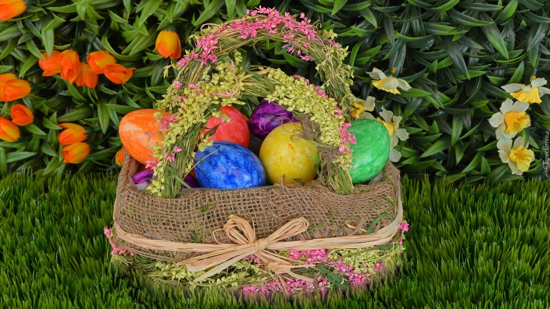 Easter Eggs In A Basket wallpaper for computer