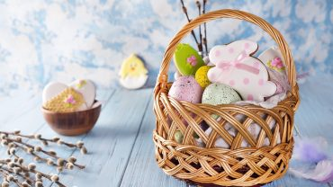 Easter Eggs In A Basket Desktop Wallpaper