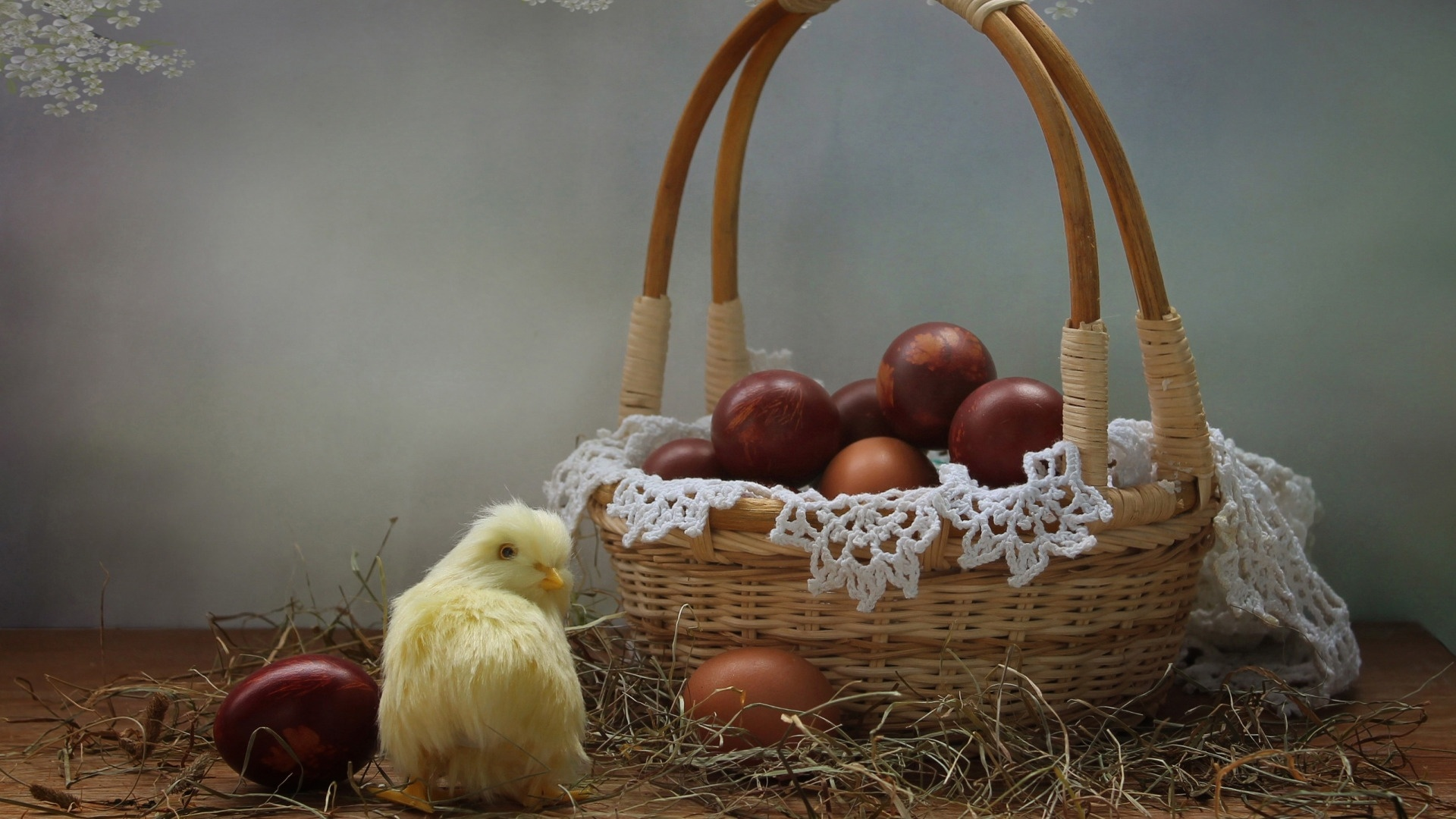 Easter Eggs In A Basket wallpaper photo hd