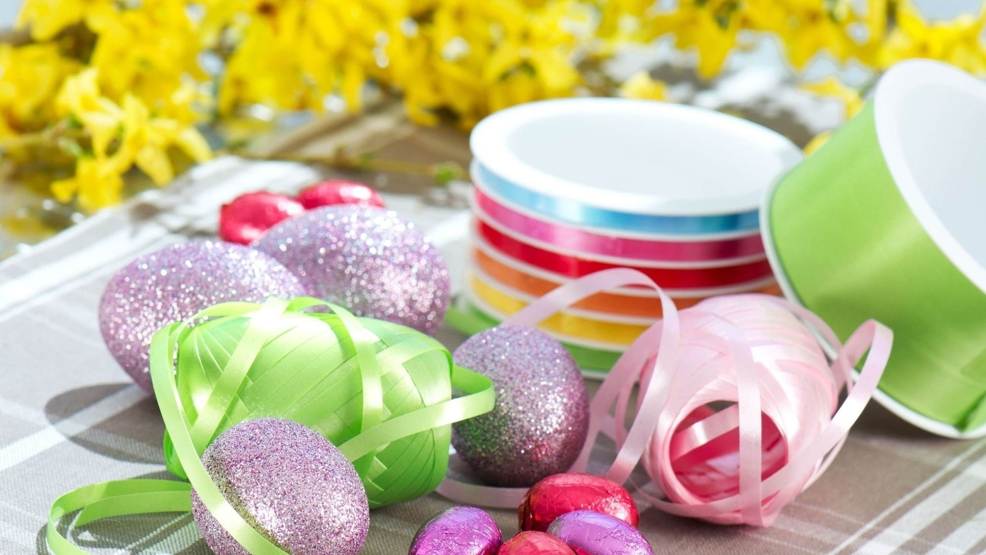 Easter Eggs With Ribbon Background