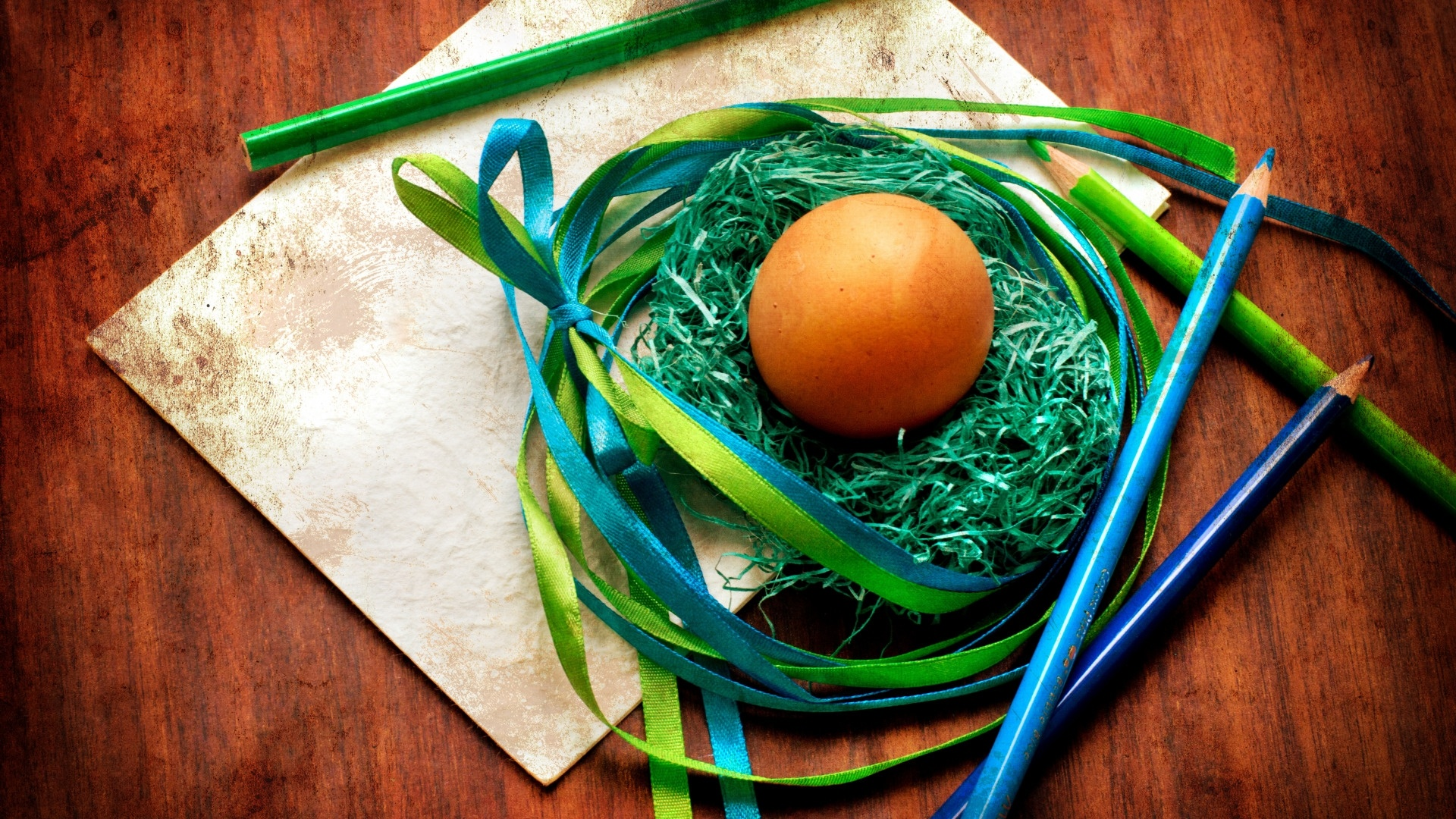 Easter Eggs With Ribbon Picture