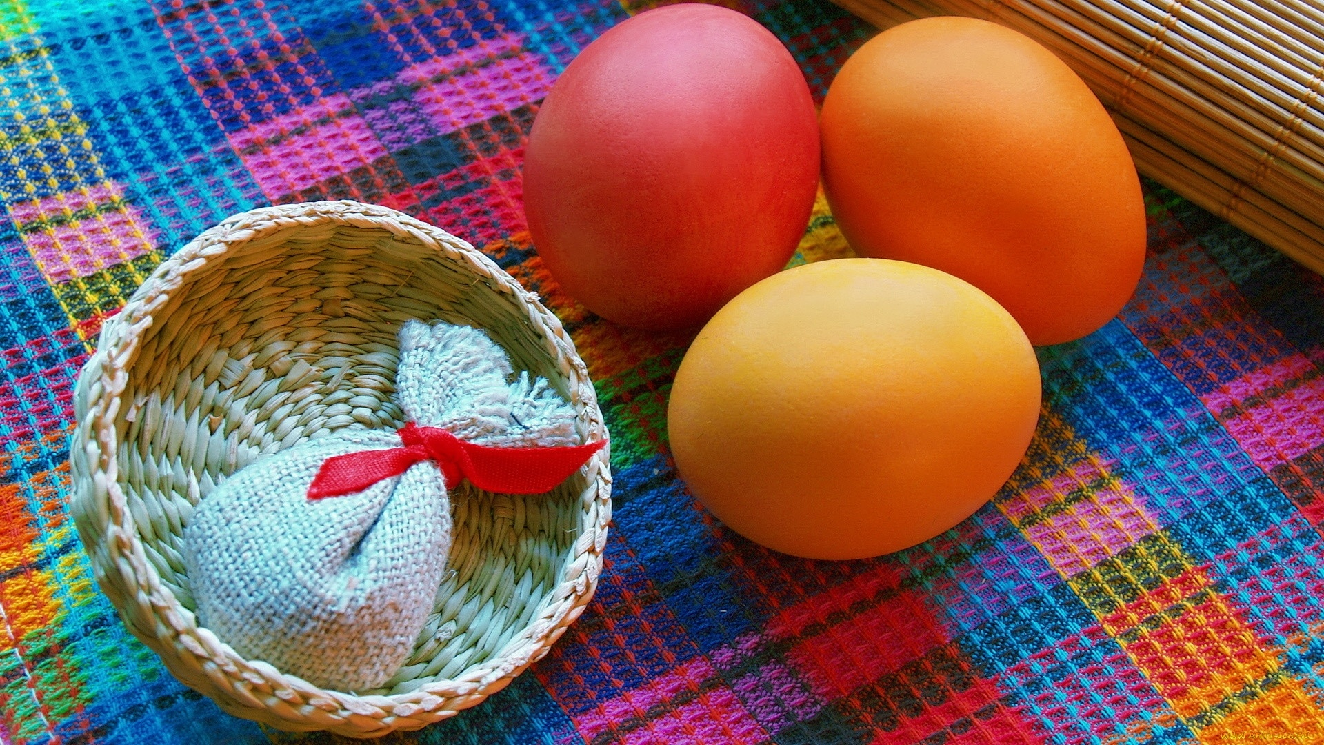 Easter Eggs With Ribbon Image