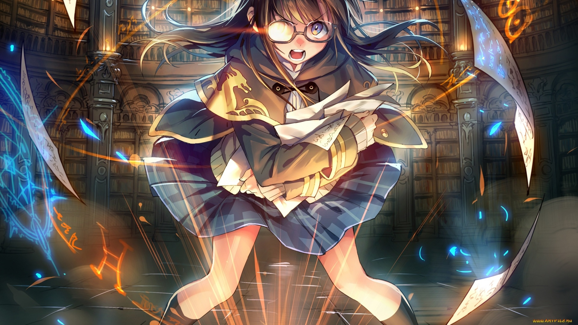 Anime Girl Magician desktop wallpaper hd