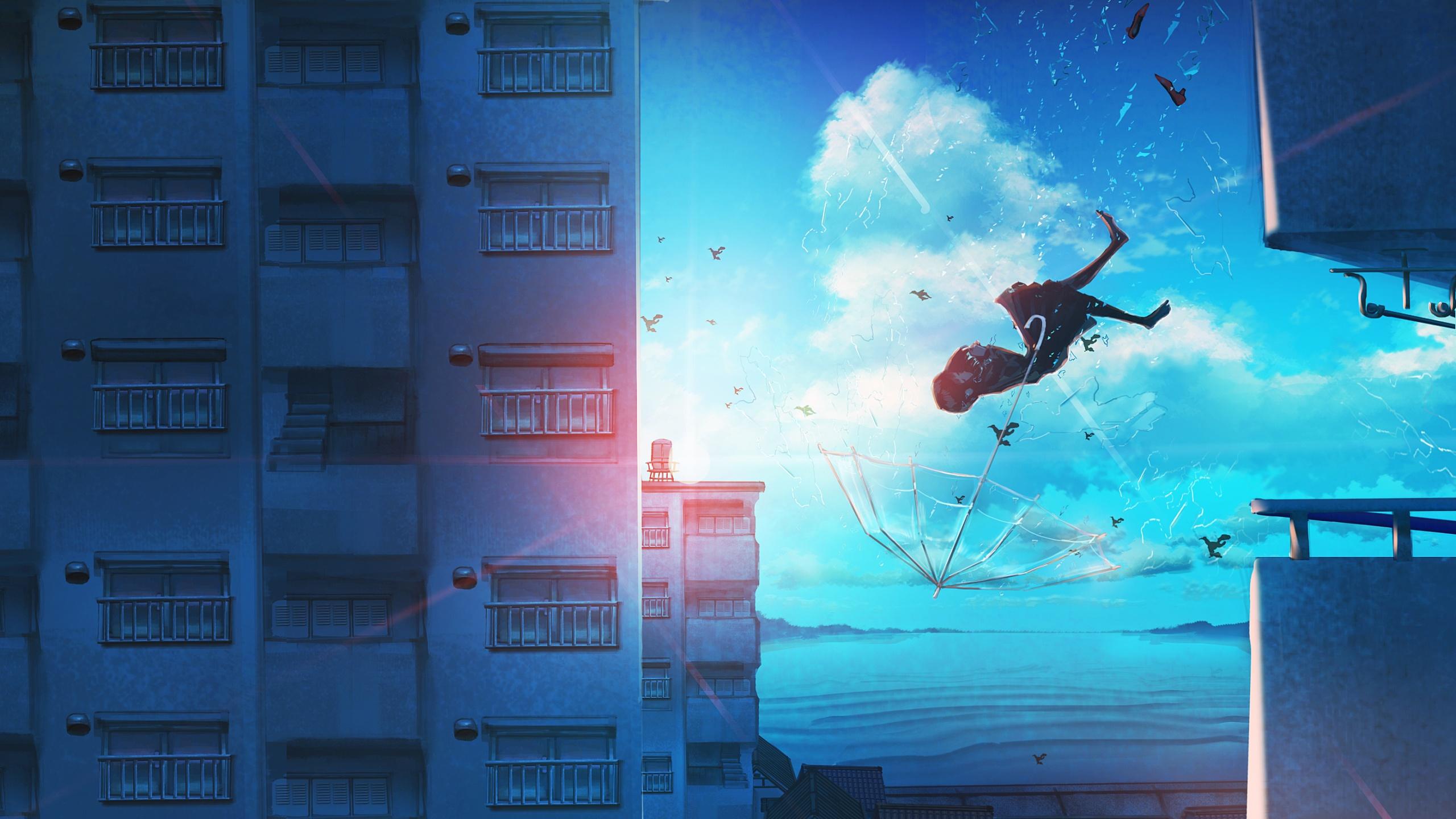 Anime Girls Flying Desktop Wallpaper