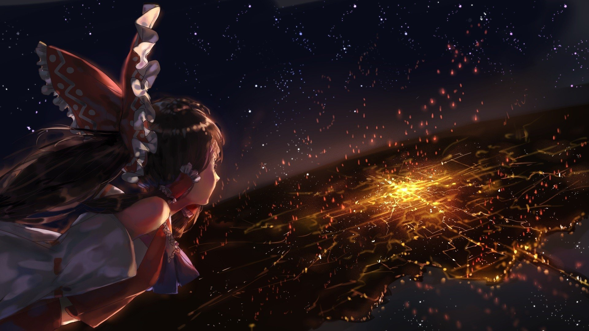 Anime Girls Flying Background