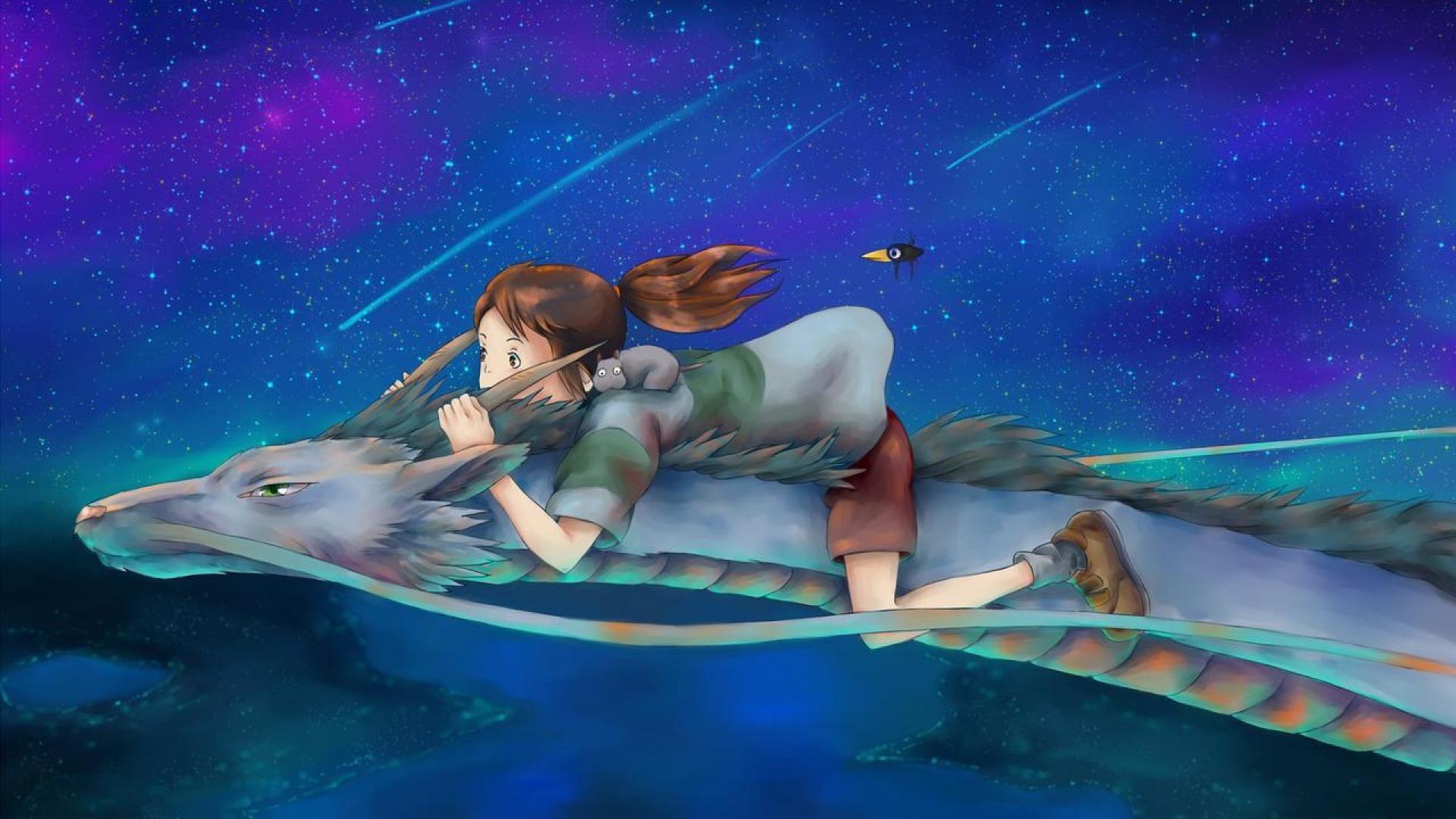 Anime Girls Flying Wallpaper theme