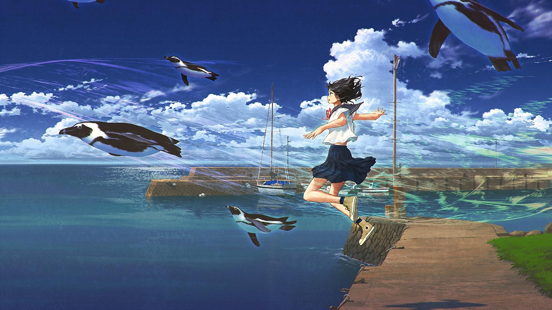 Anime Girls Flying wallpaper for pc