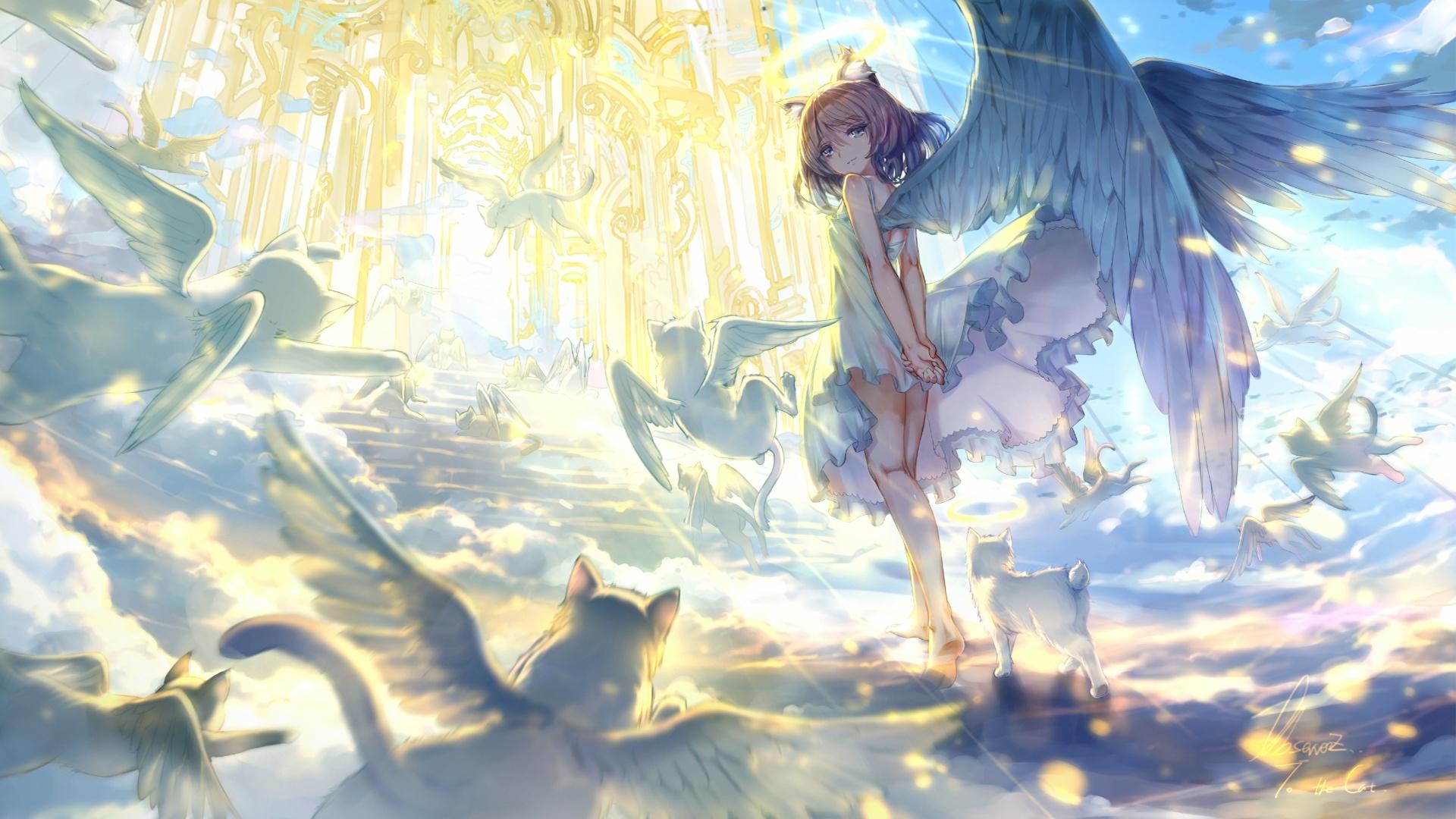 Anime Girls Flying Wallpaper