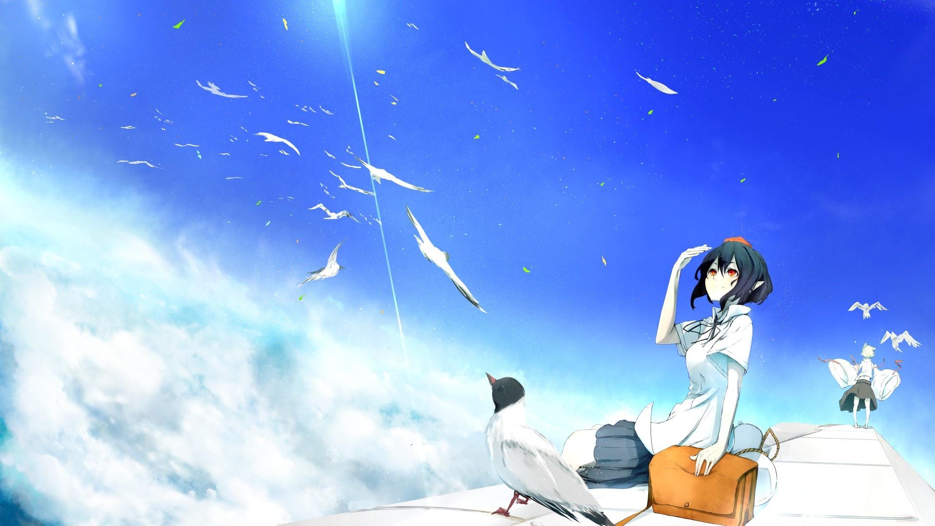 Anime Girls Flying desktop wallpaper hd