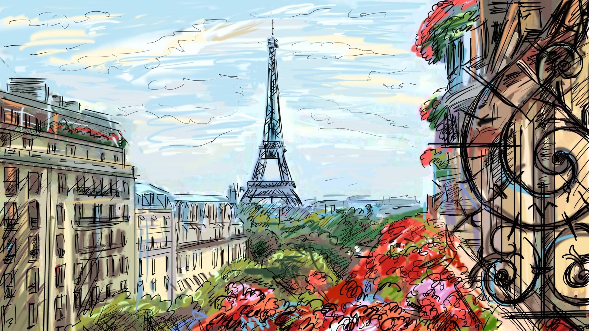 Eiffel Tower Art HD Wallpaper