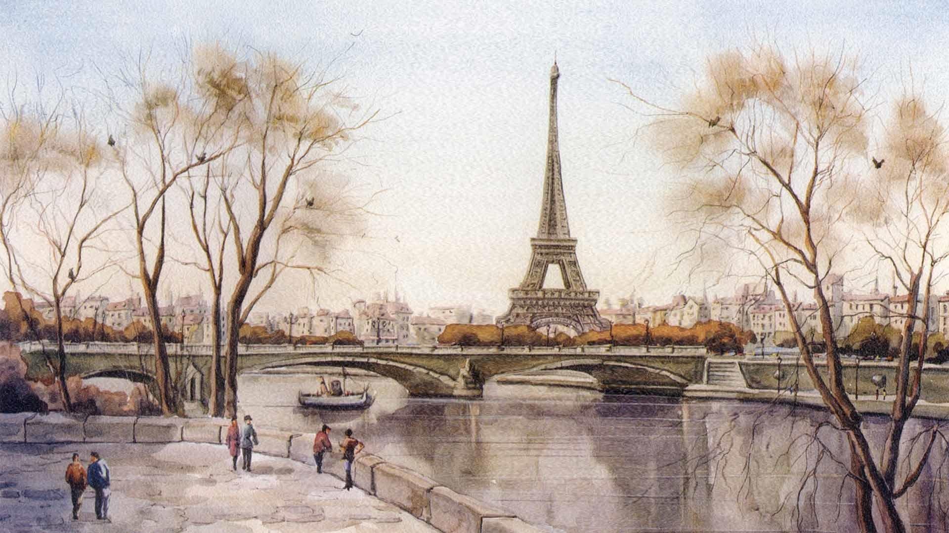 Eiffel Tower Art desktop wallpaper hd