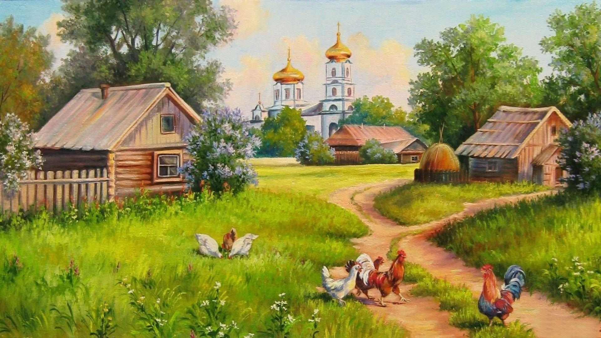 Village House Art wallpaper for pc