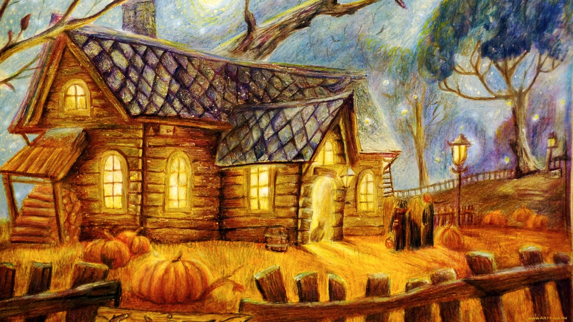 Village House Art Desktop Wallpaper