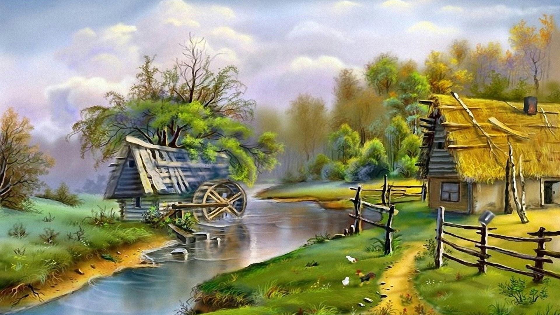 Village House Art Wallpaper