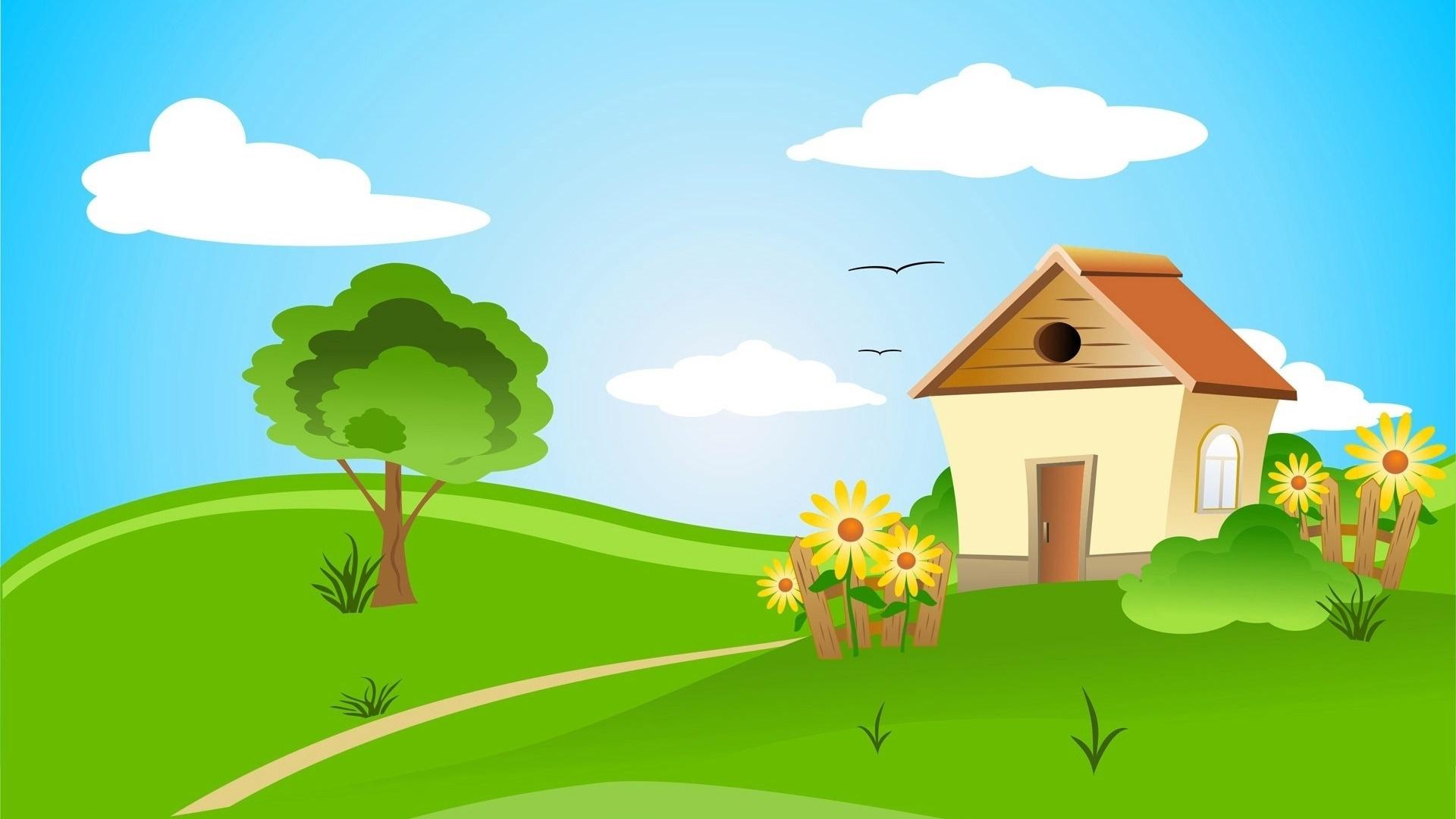 Village House Art desktop wallpaper hd