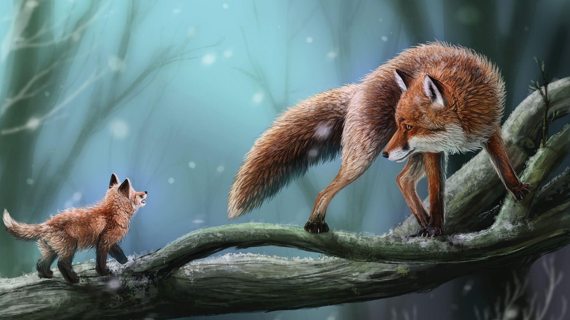 Fox Art HD Wallpaper