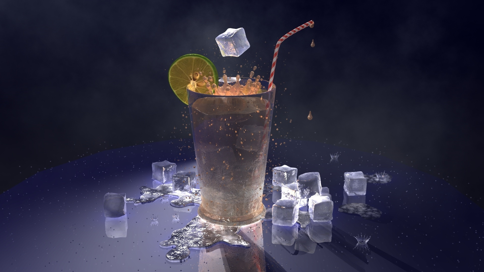 Ice In A Glass HD Wallpaper