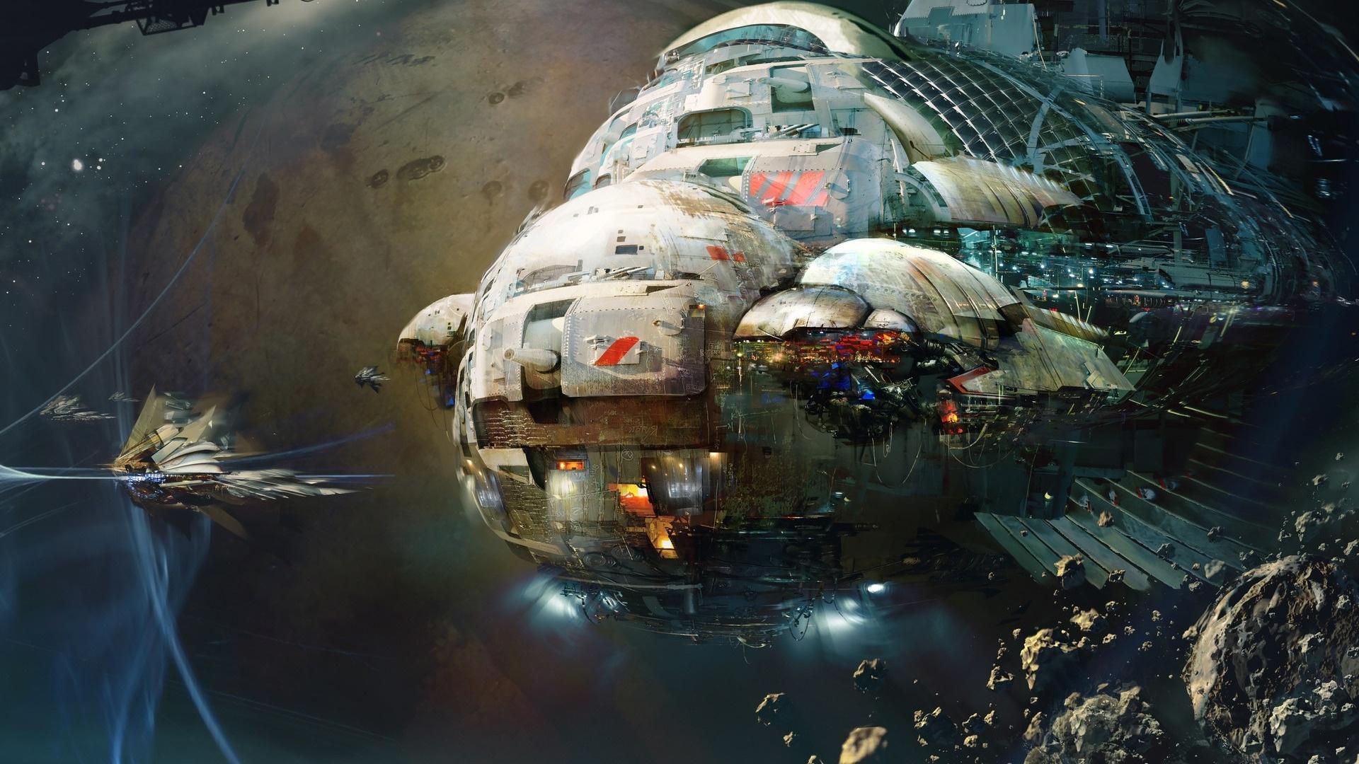 Spaceships Art Background