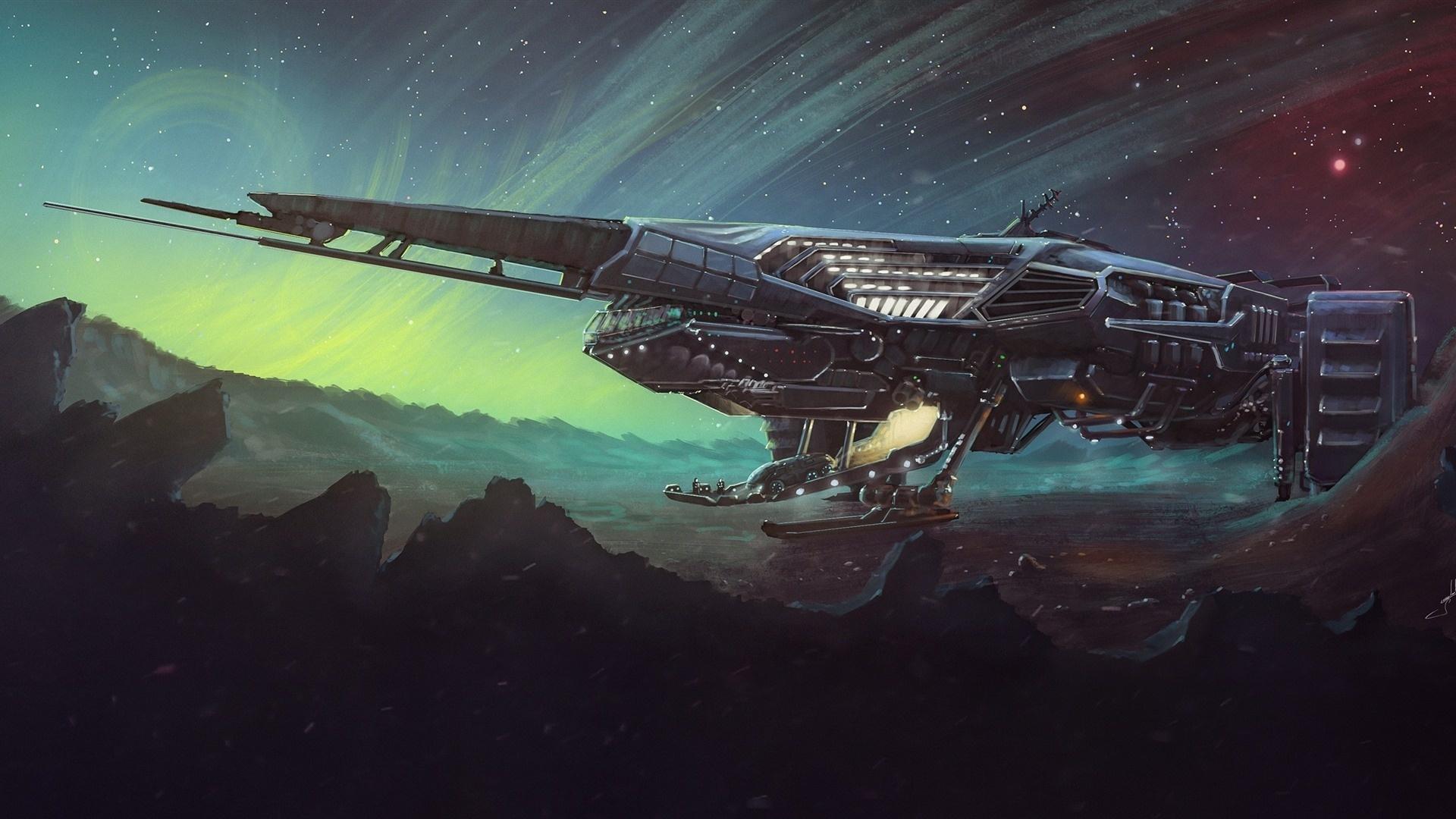 Spaceships Art Wallpaper theme
