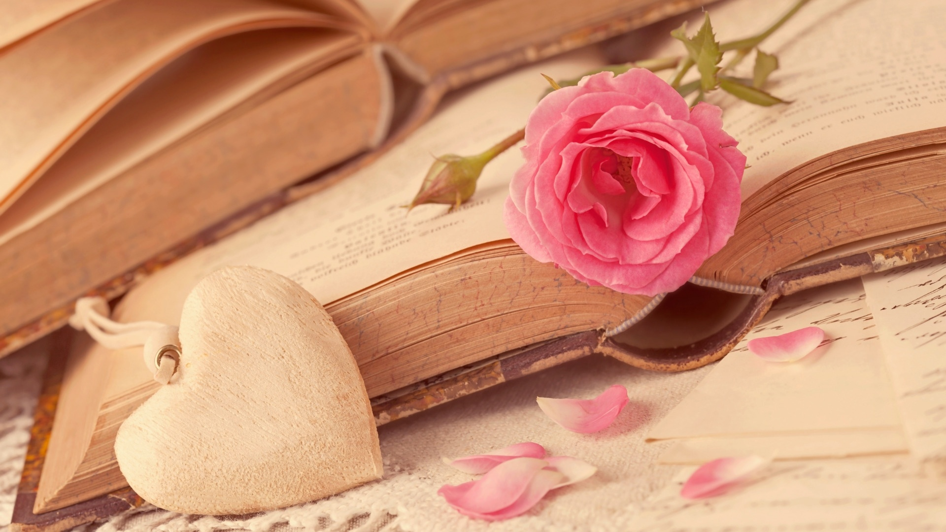 Book And Flower Wallpaper theme