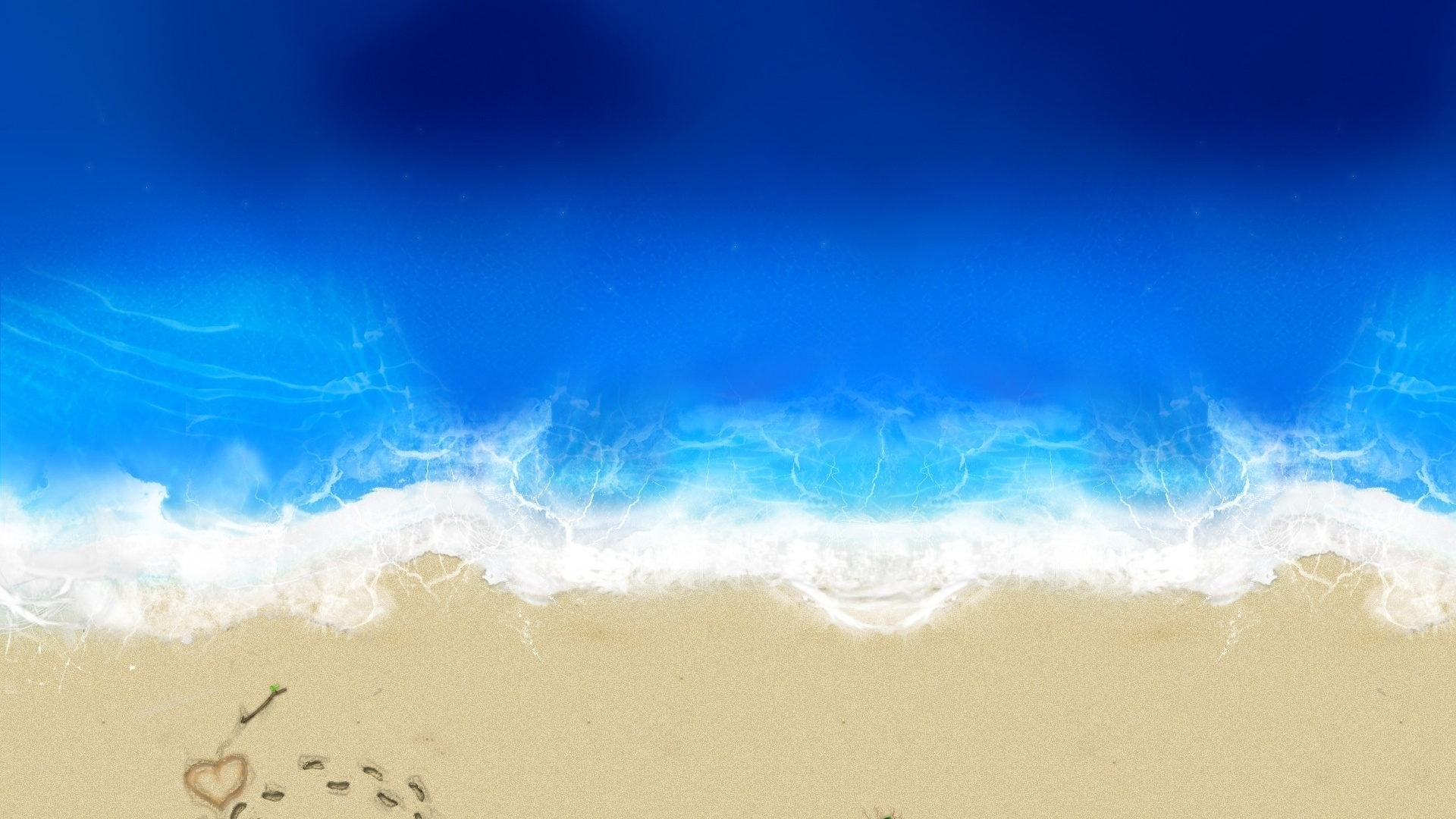 Sea and Sand From Above 1920x1080 wallpaper