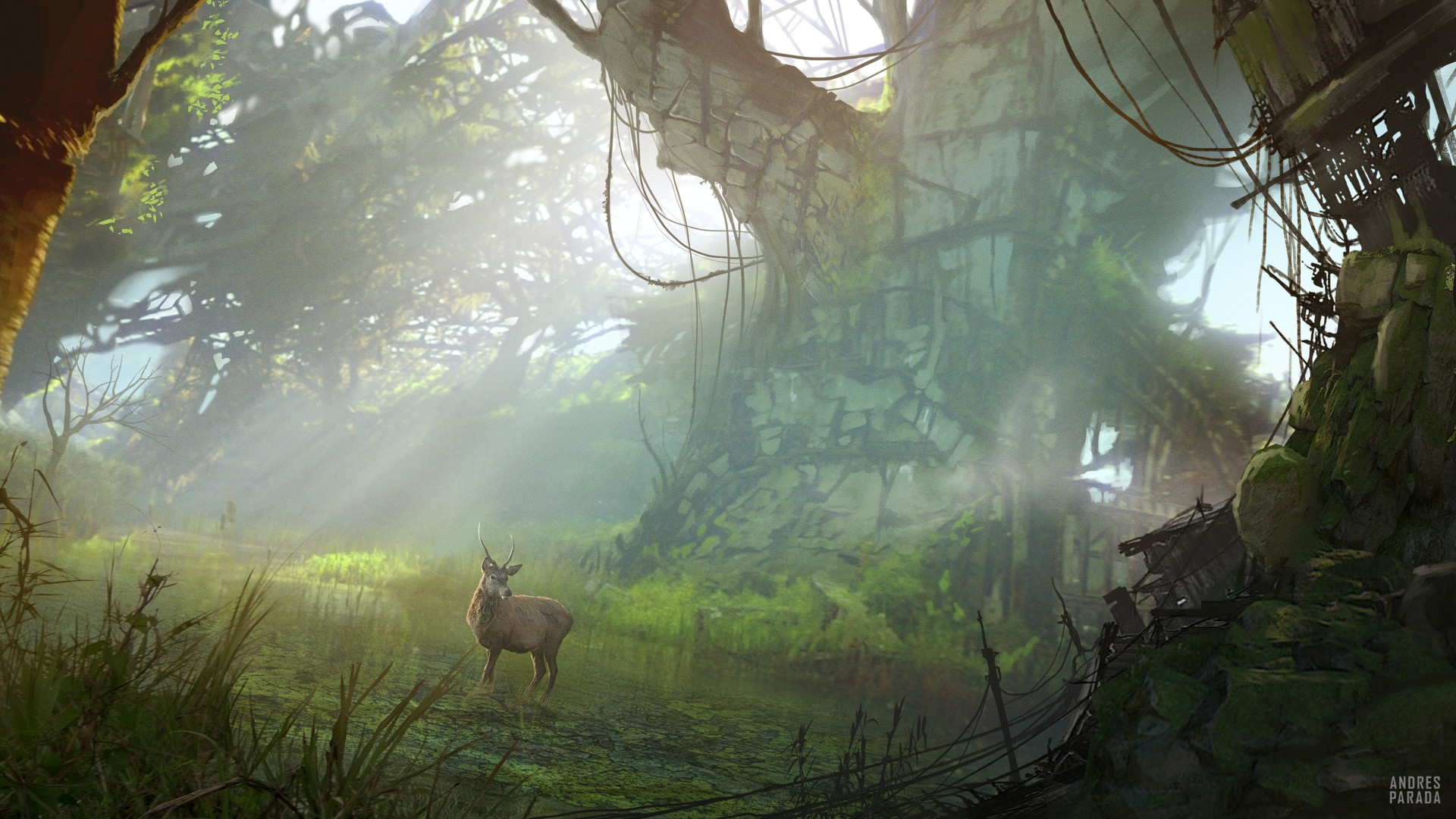 Post Apocalyptic Overgrown City cool wallpaper