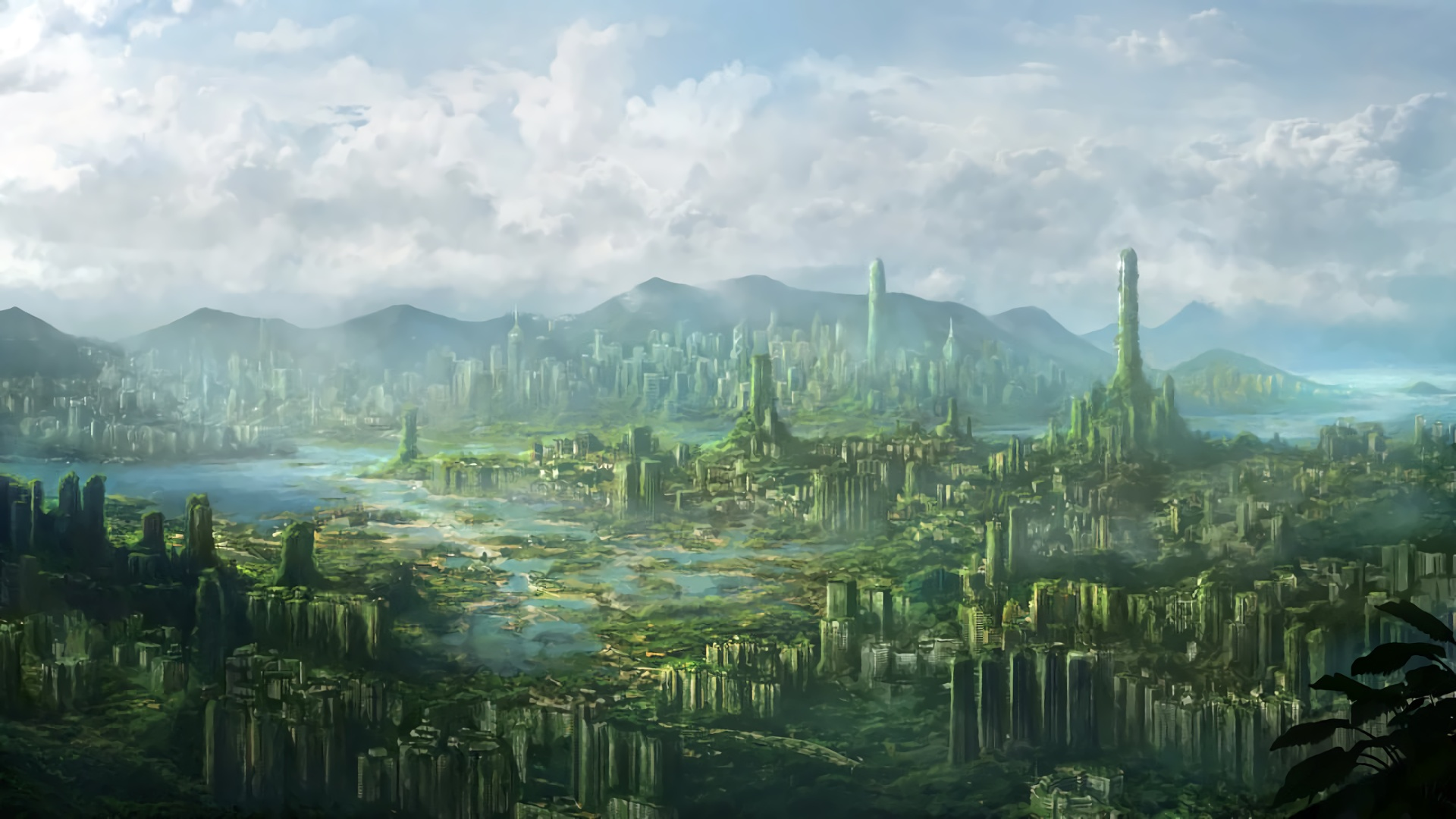 Post Apocalyptic Overgrown City computer background