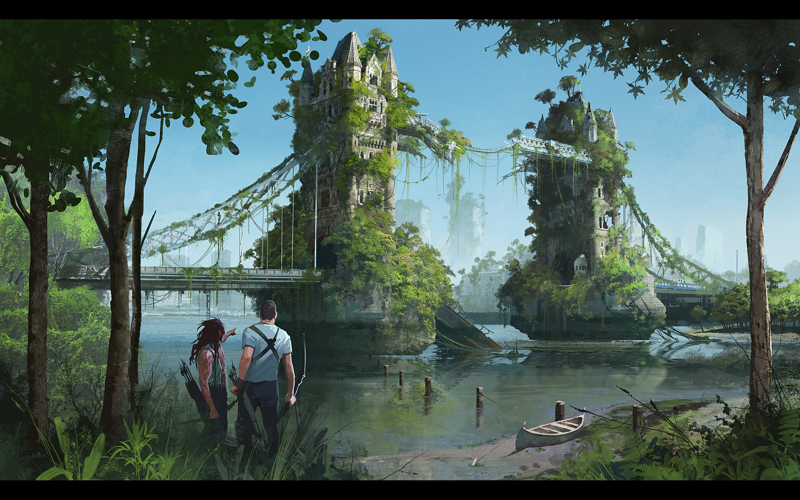 Post Apocalyptic Overgrown City background picture