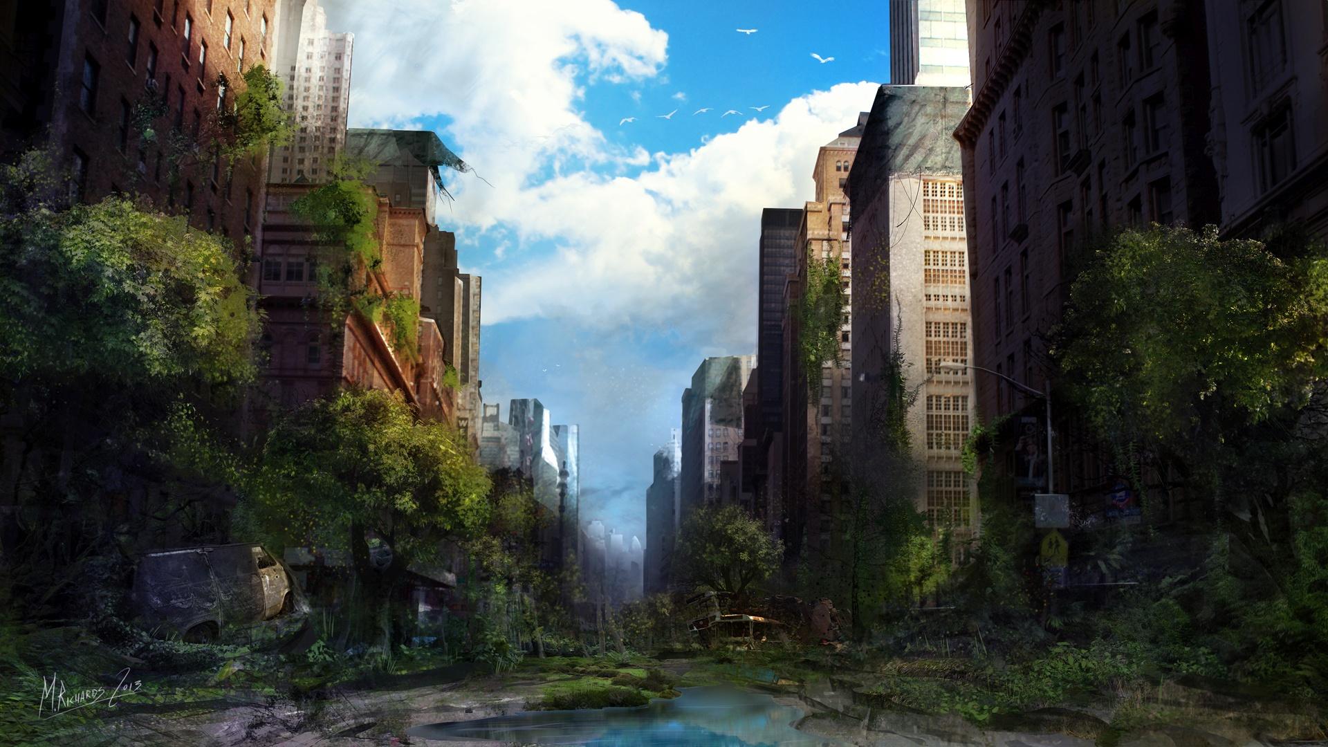 Post Apocalyptic Overgrown City 1080p wallpaper
