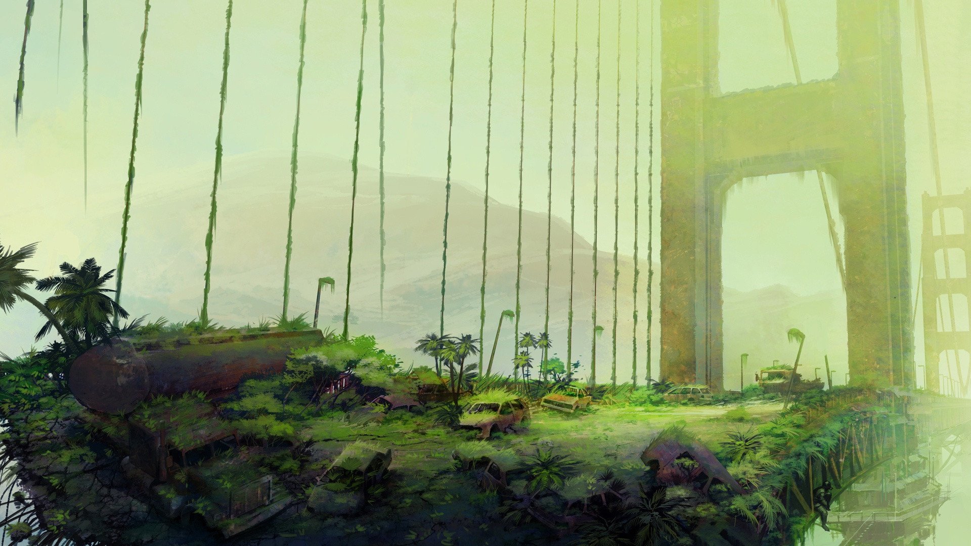Post Apocalyptic Overgrown City desktop wallpaper