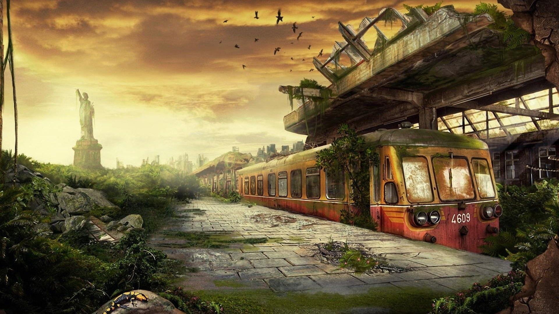 Post Apocalyptic Overgrown City cool background