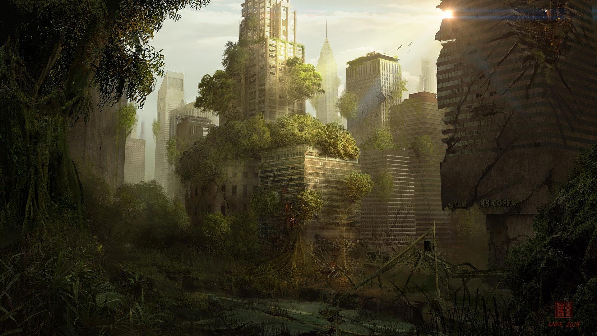 Post Apocalyptic Overgrown City wallpaper hd