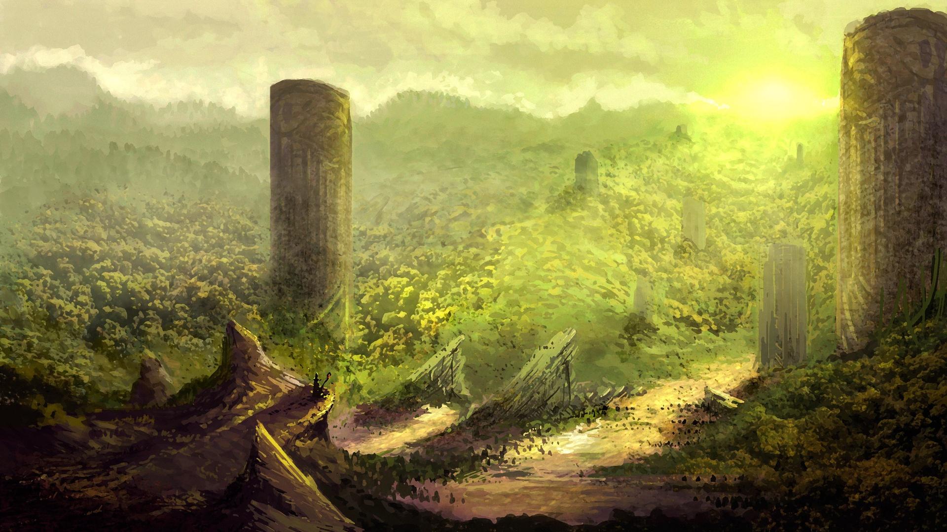 Post Apocalyptic Overgrown City laptop wallpaper