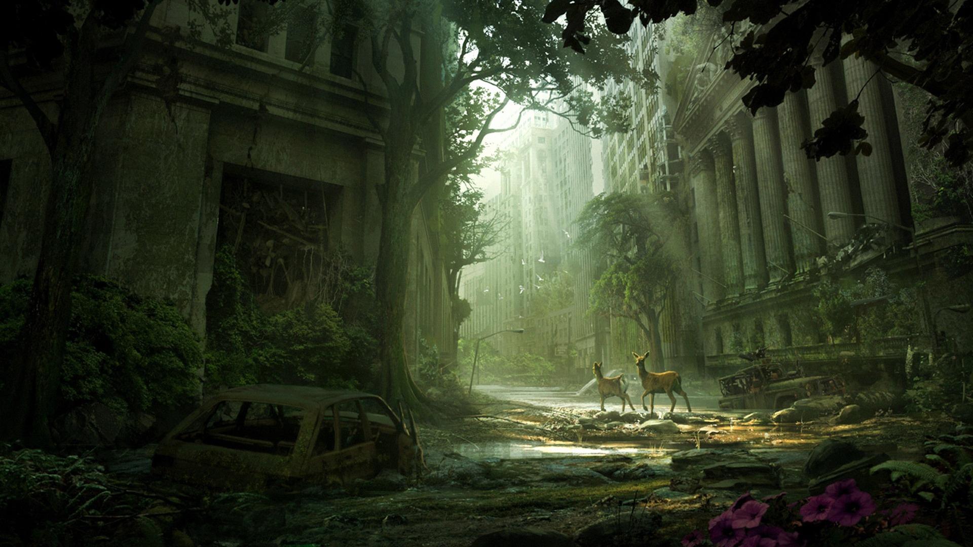 Post Apocalyptic Overgrown City windows background