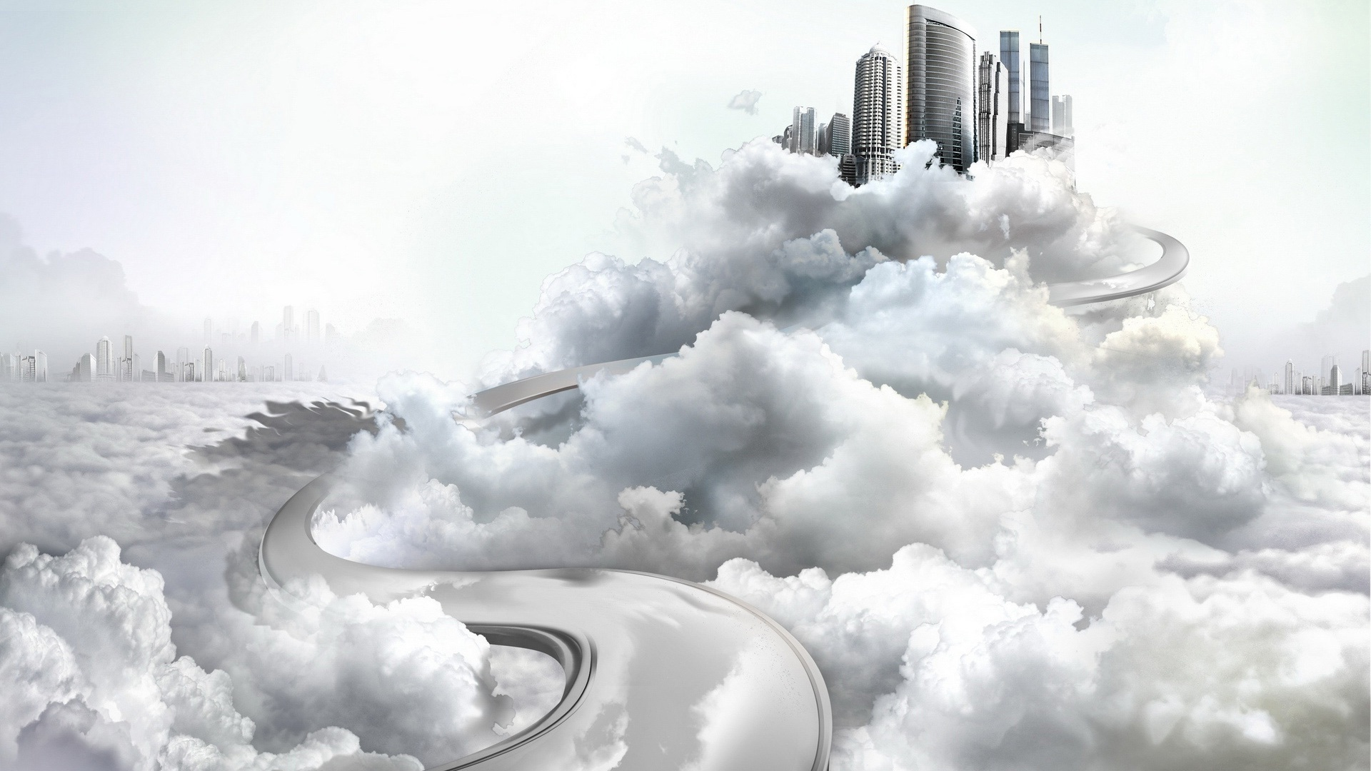 City In Clouds free image