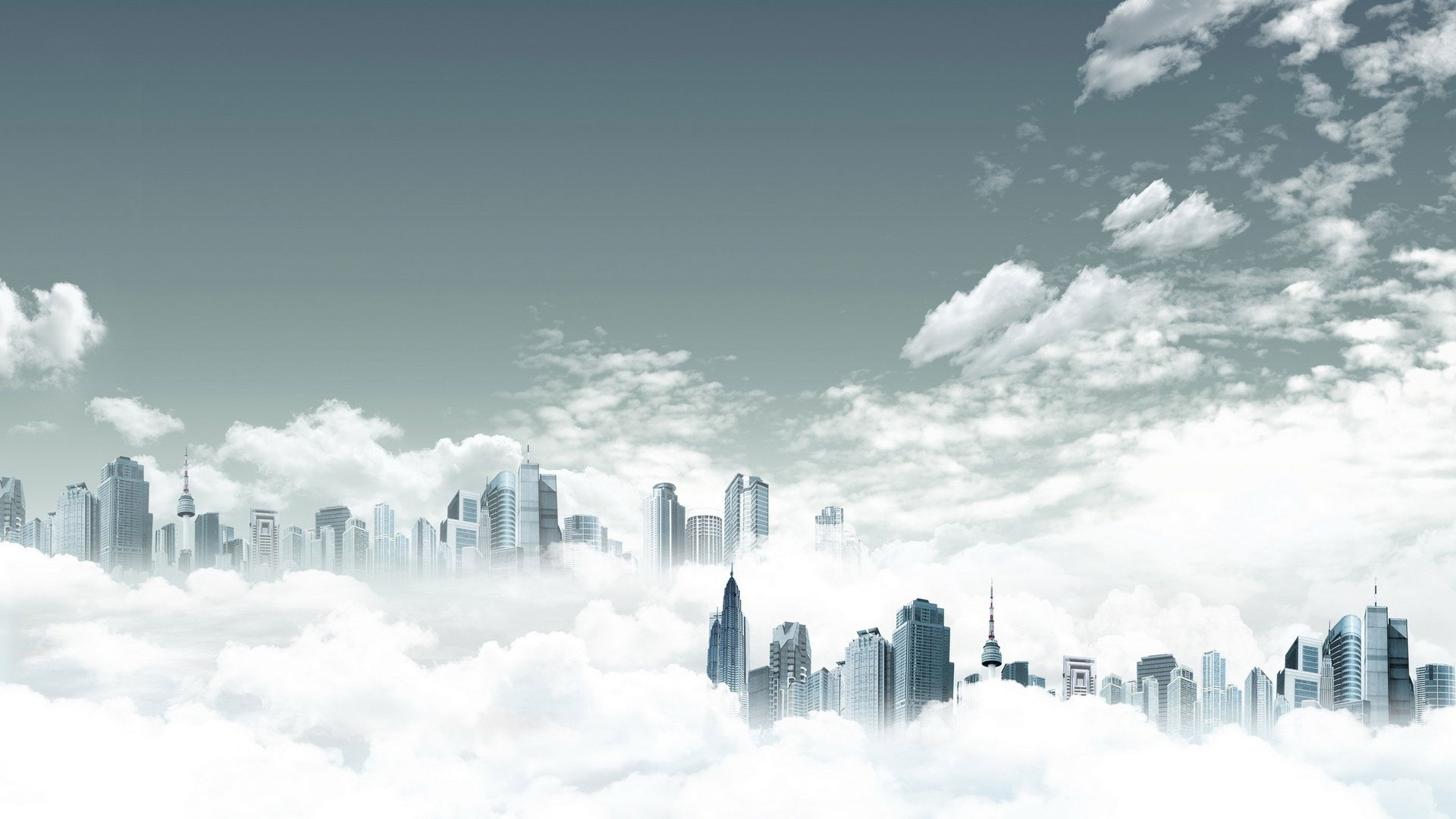 City In Clouds cool wallpaper