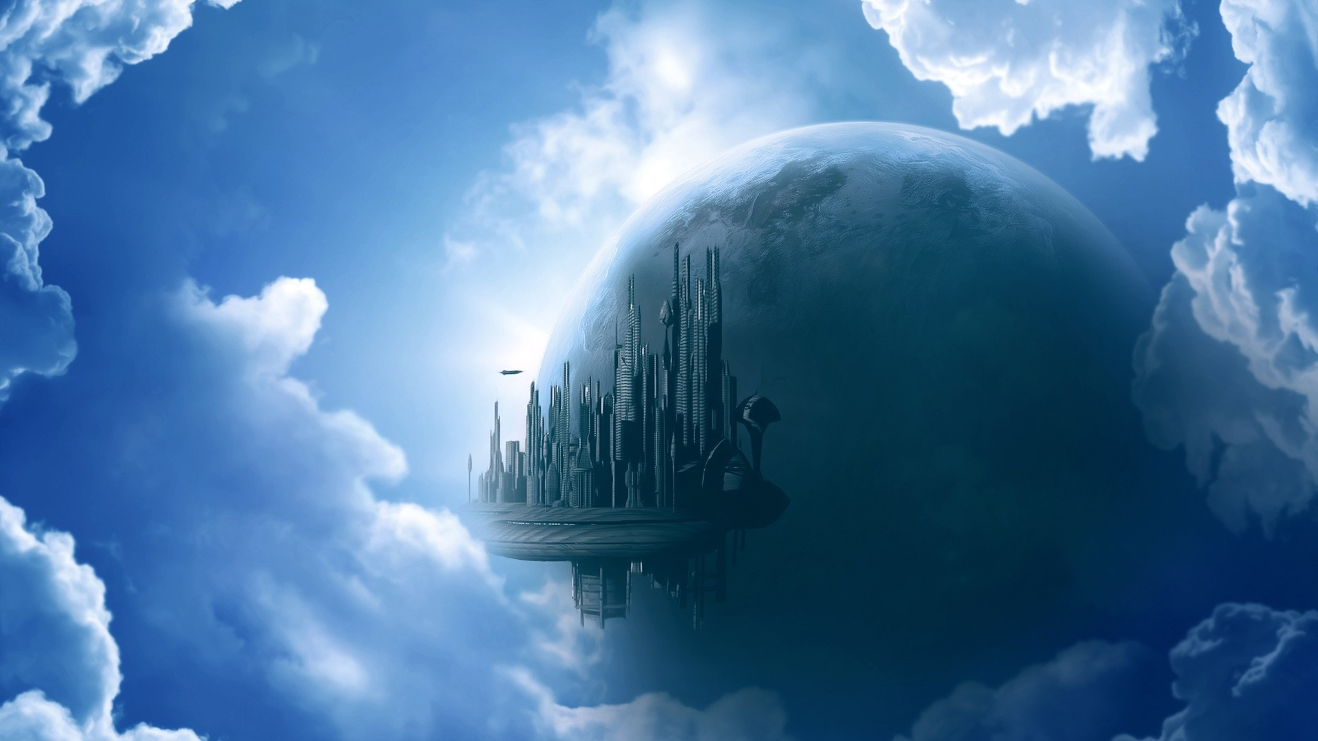 City In Clouds pc wallpaper