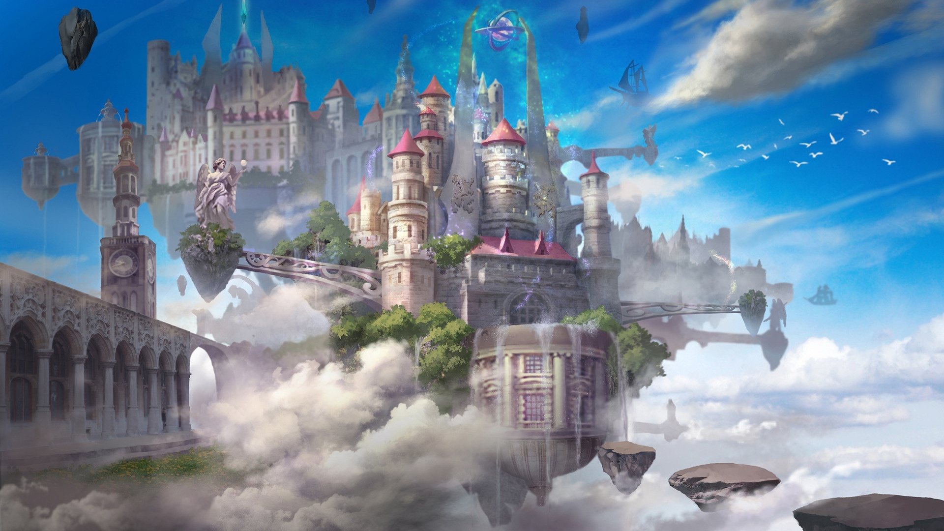 City In Clouds desktop background