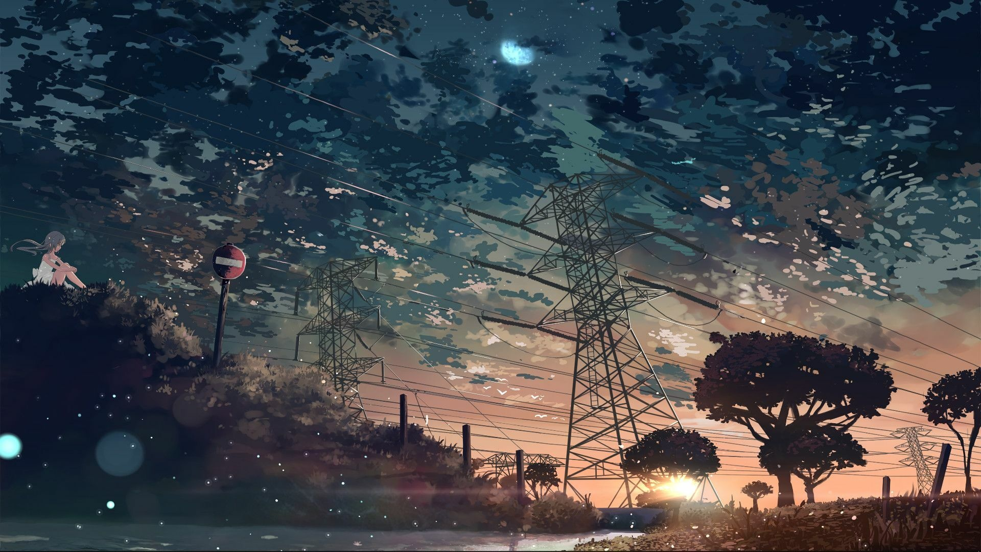 Anime Landscape With Clouds free wallpaper