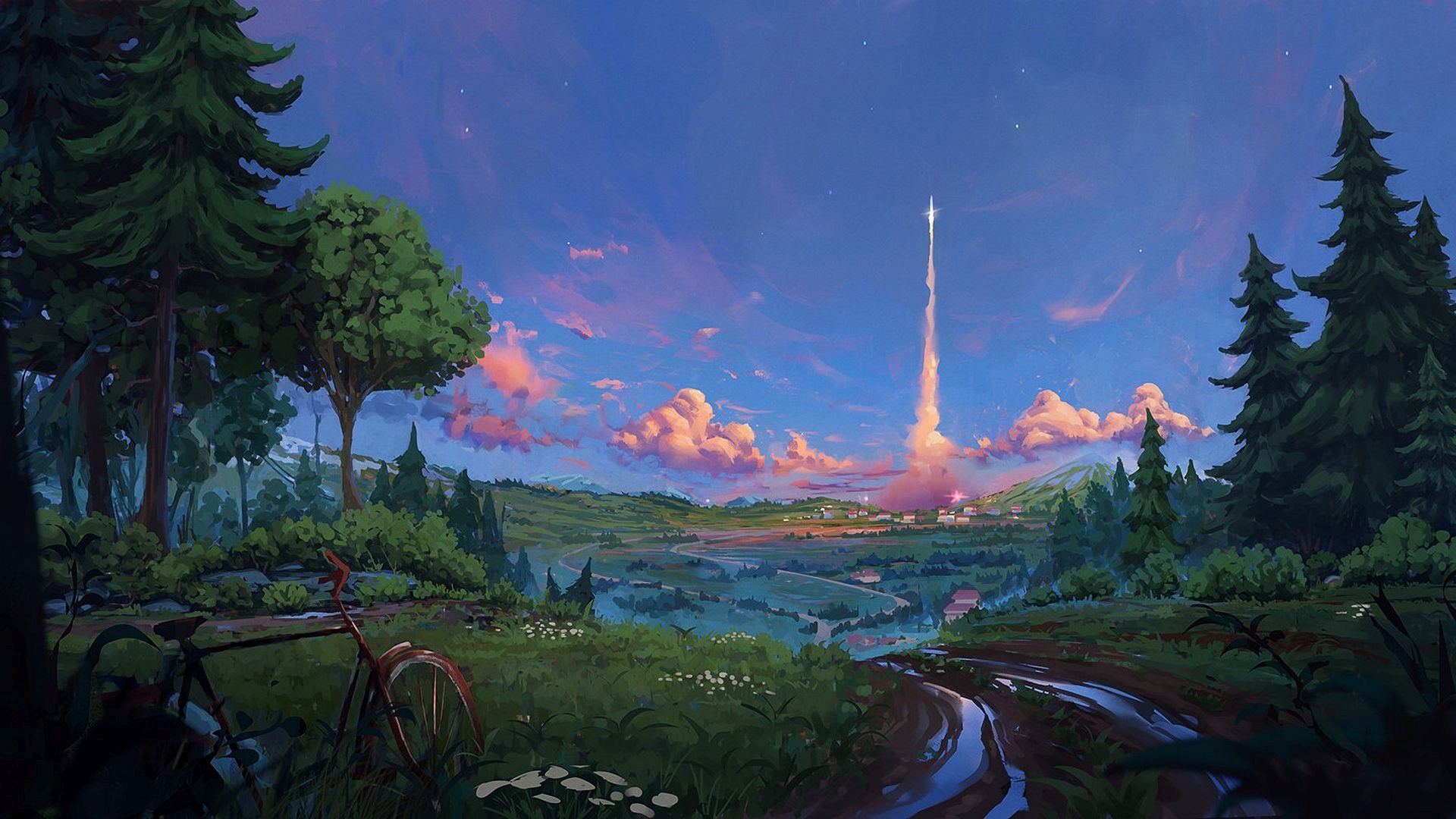 Anime Landscape With Clouds laptop wallpaper
