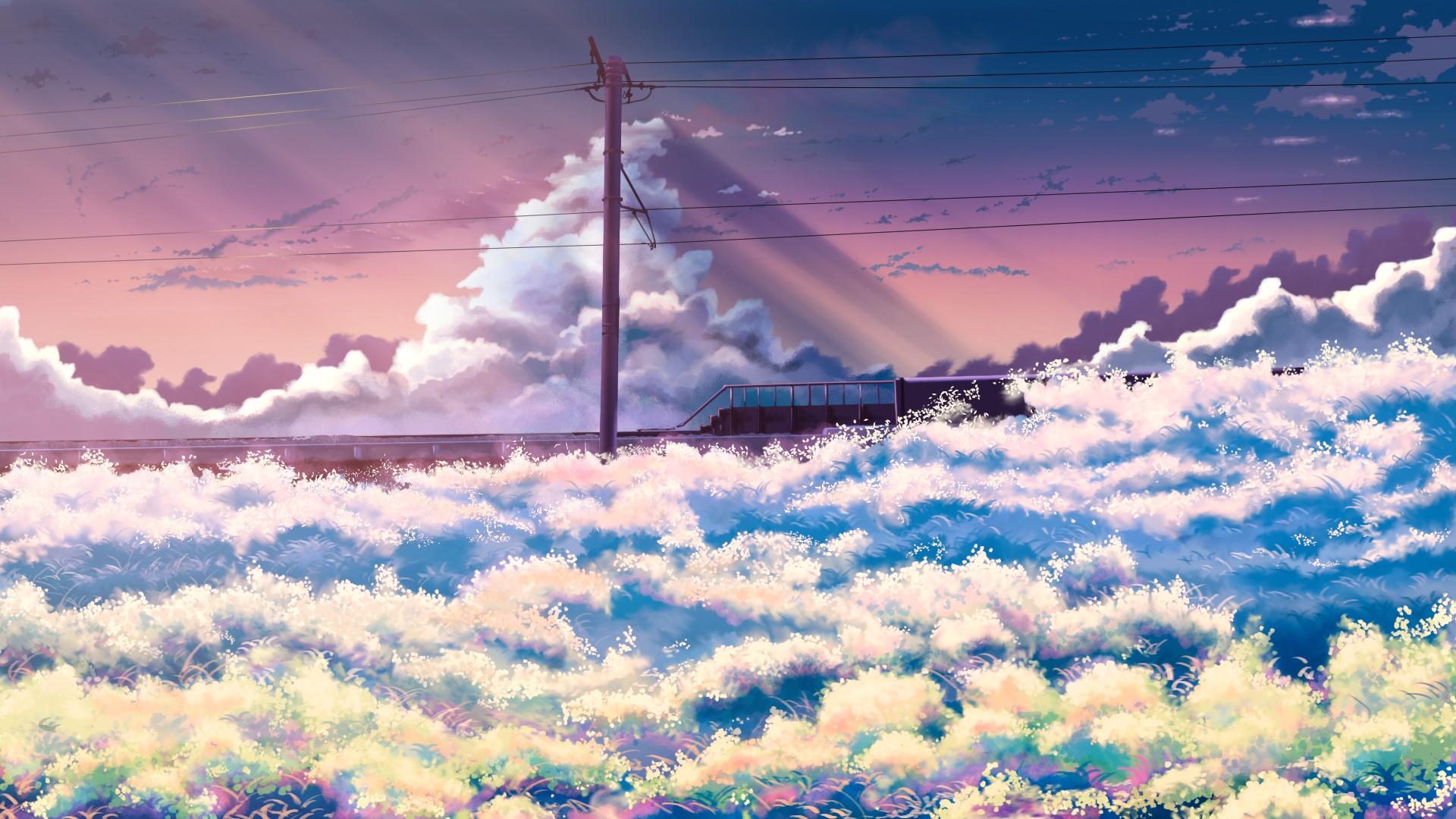 Anime Landscape With Clouds desktop wallpaper