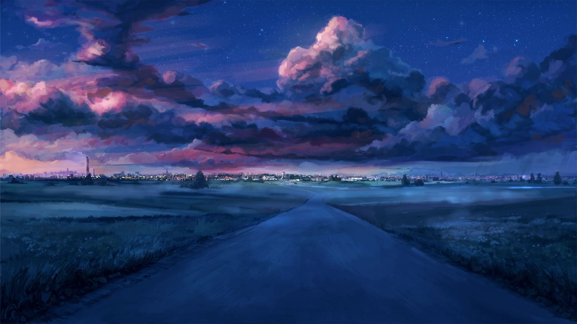 Anime Landscape With Clouds background wallpaper