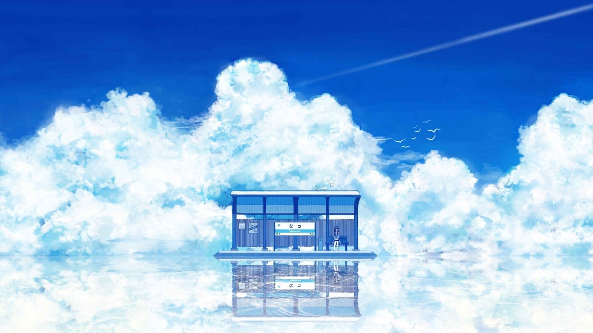 Anime Landscape With Clouds pc wallpaper