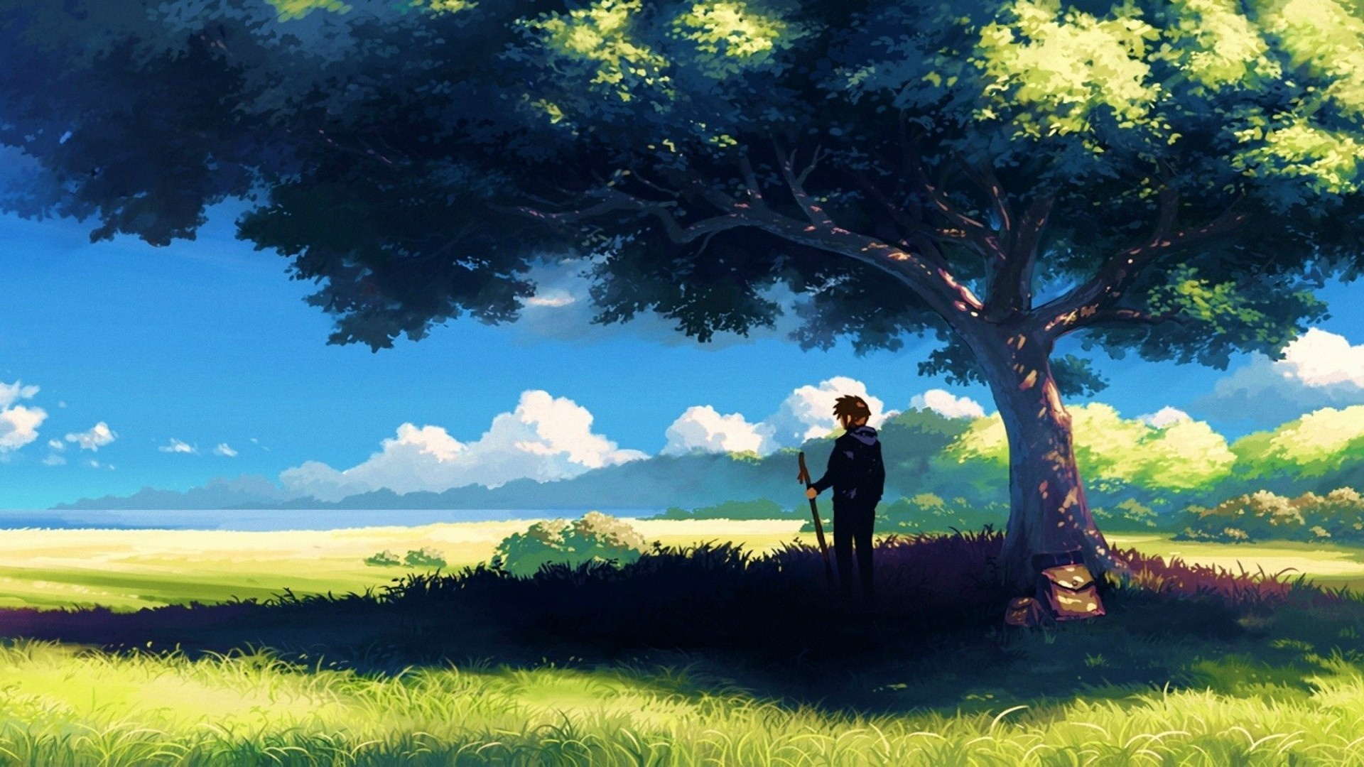 Anime Landscape With Clouds background picture