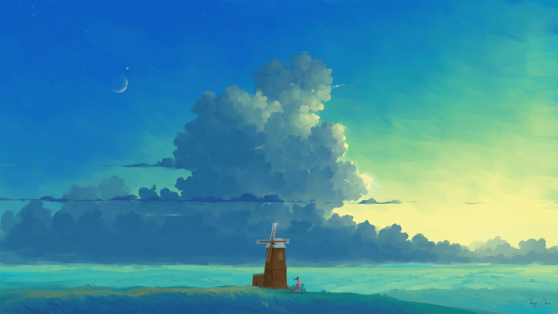 Anime Landscape With Clouds 1080p wallpaper